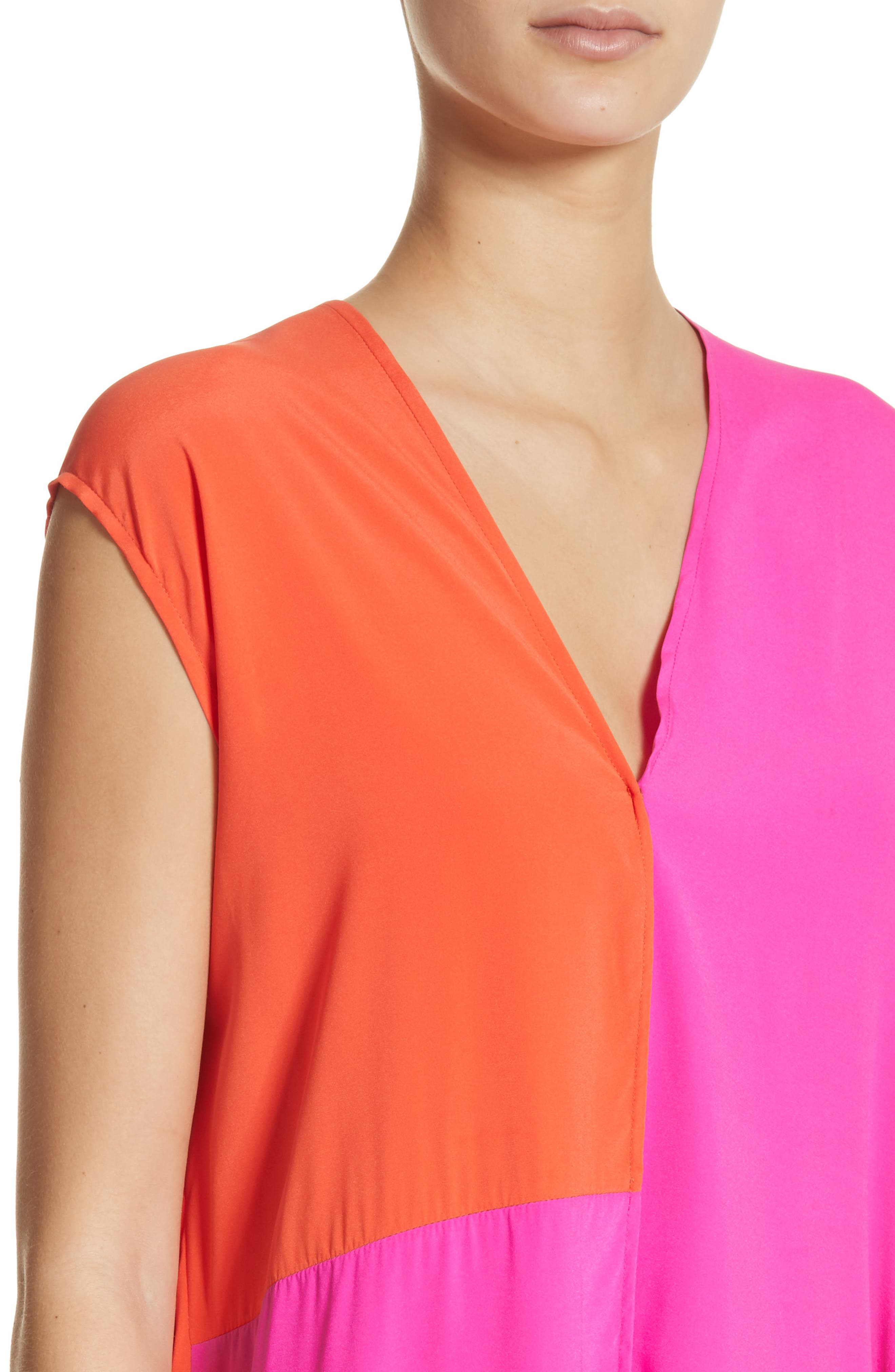 Colorblock Drape Silk Blend Dress,                             Alternate thumbnail 4, color,                             650