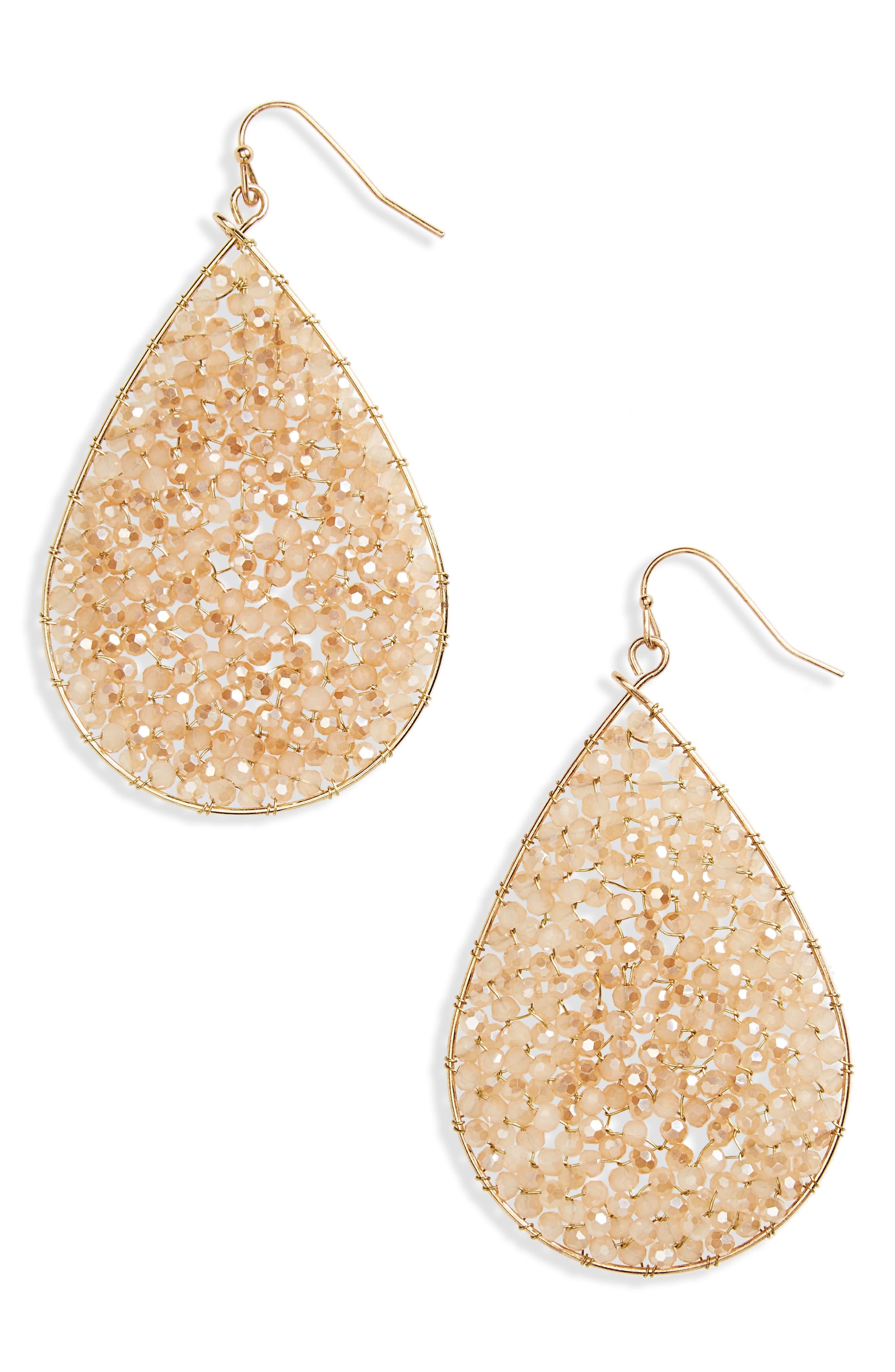 Crystal Teardrop Earrings,                             Main thumbnail 1, color,                             830