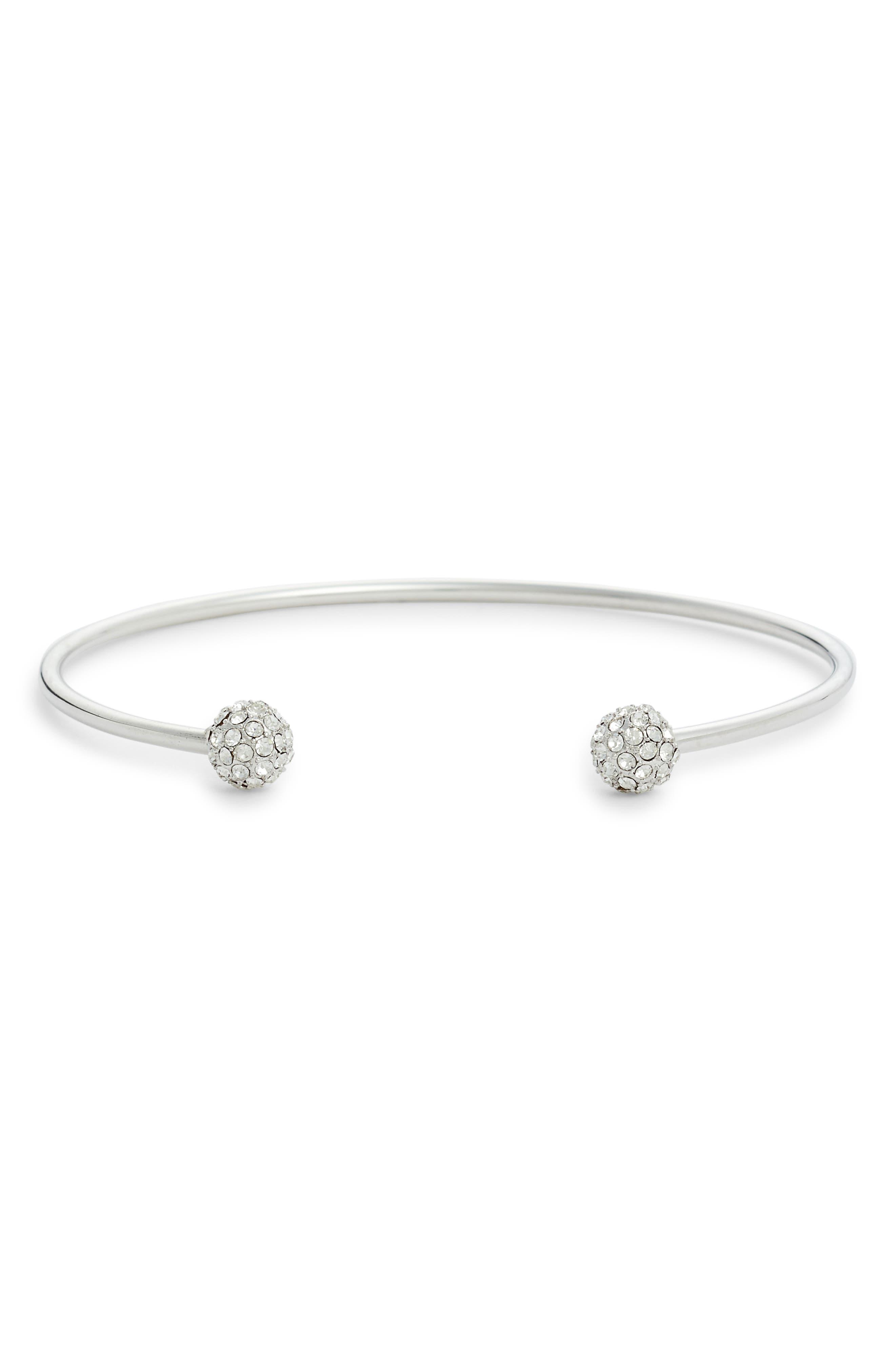 Pavé Sphere Open Cuff Bracelet,                         Main,                         color, 040