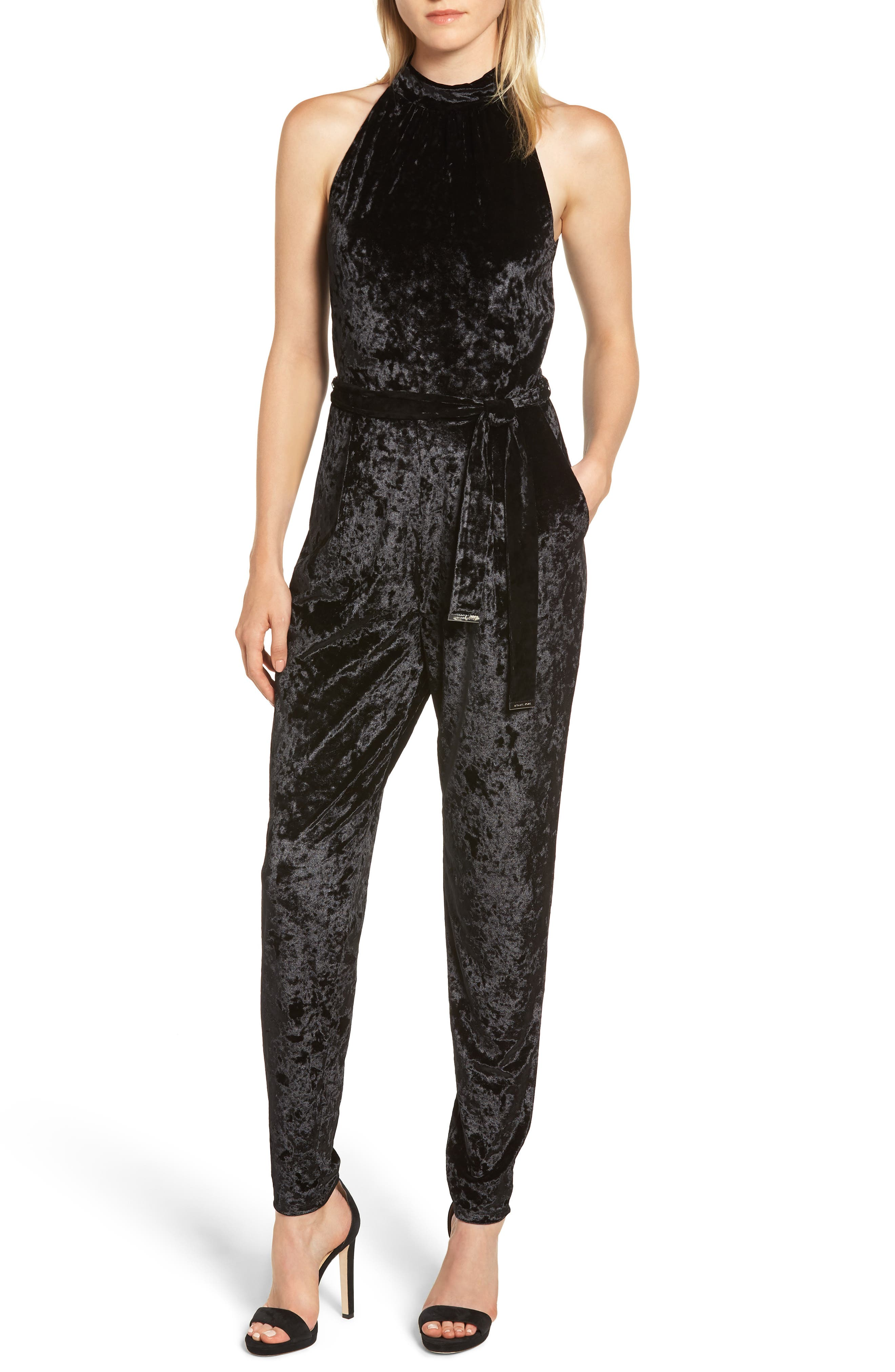 Mock Neck Velvet Jumpsuit,                             Main thumbnail 1, color,                             BLACK