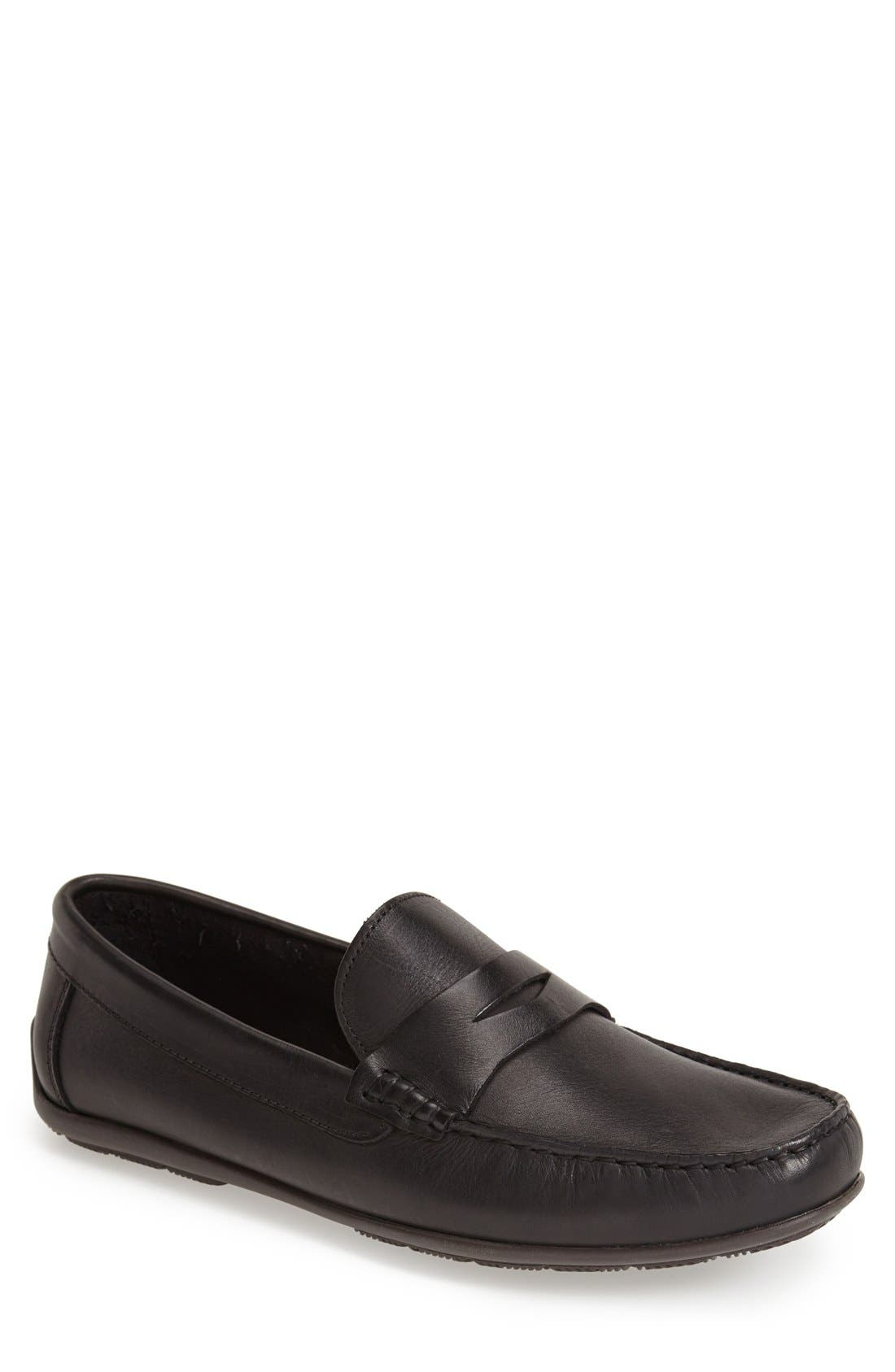 'Paris' Leather Penny Loafer,                             Main thumbnail 1, color,                             BLACK