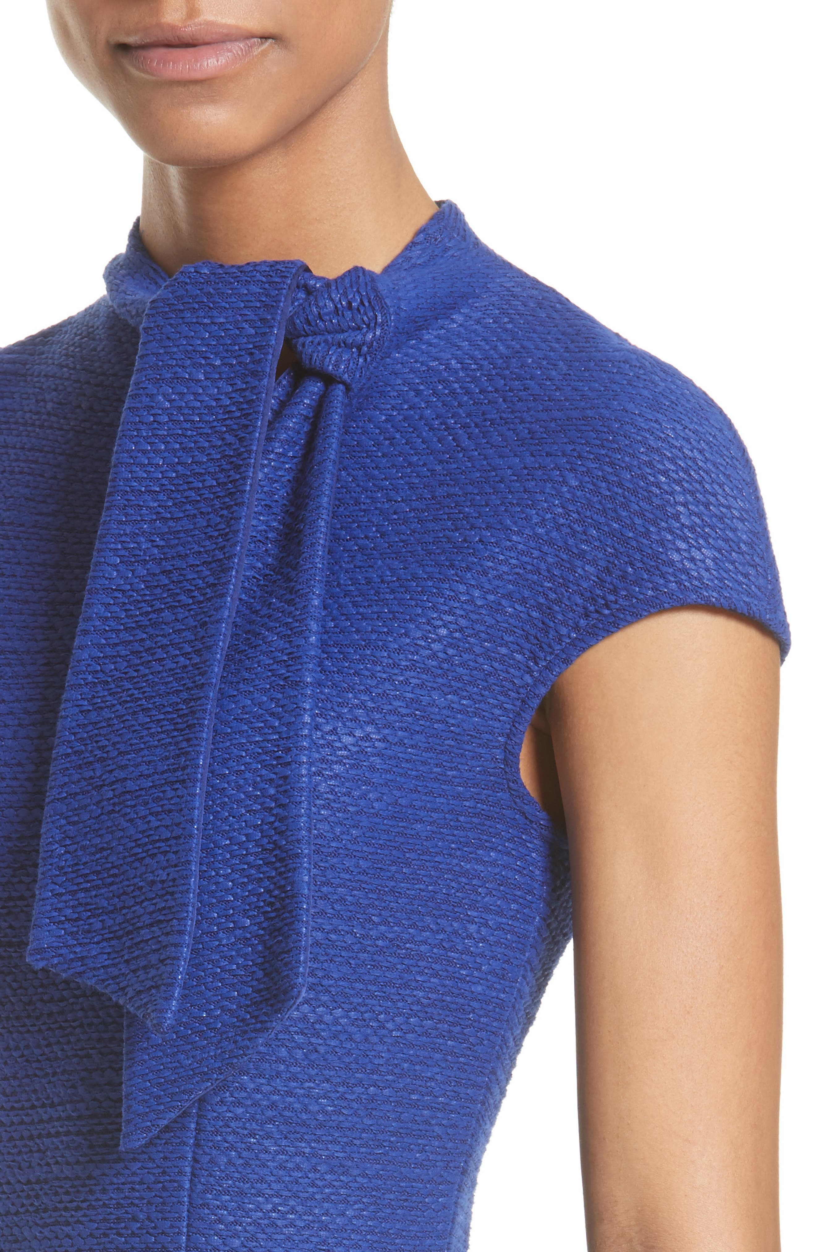 Sheen Tape Knit Tie Neck Dress,                             Alternate thumbnail 4, color,                             430