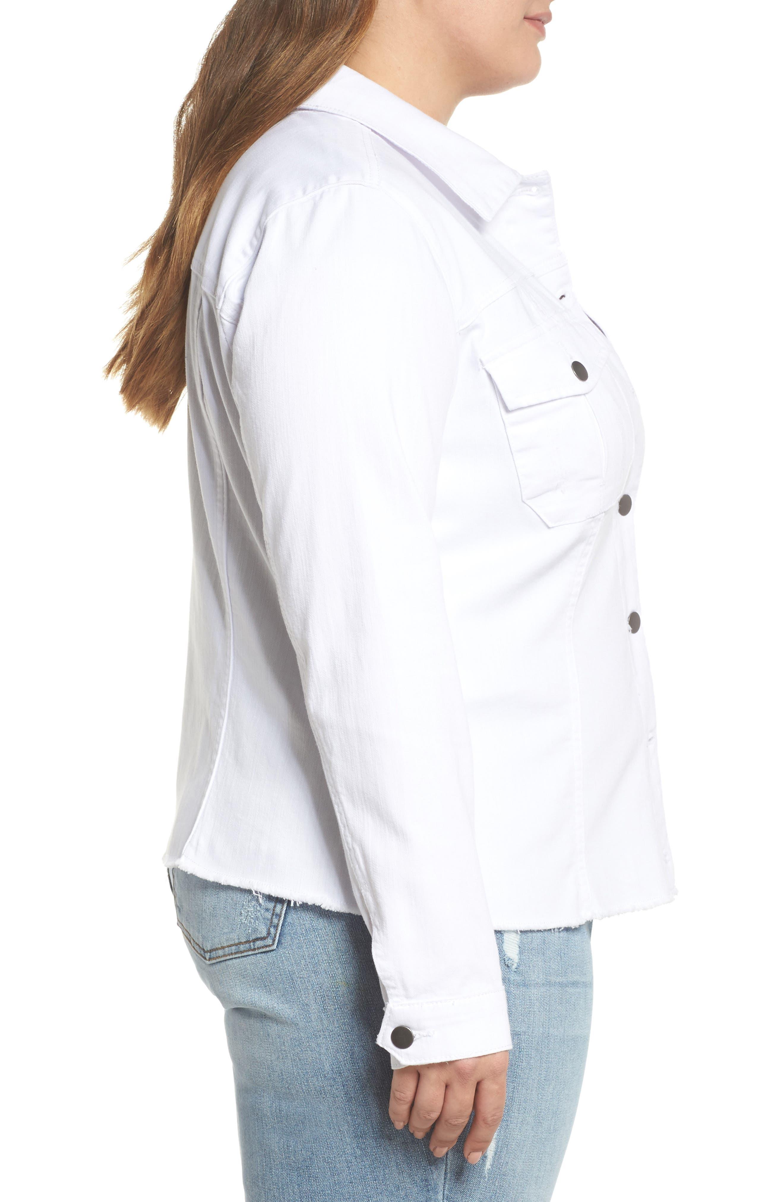 Kara Denim Jacket,                             Alternate thumbnail 3, color,                             OPTIC WHITE