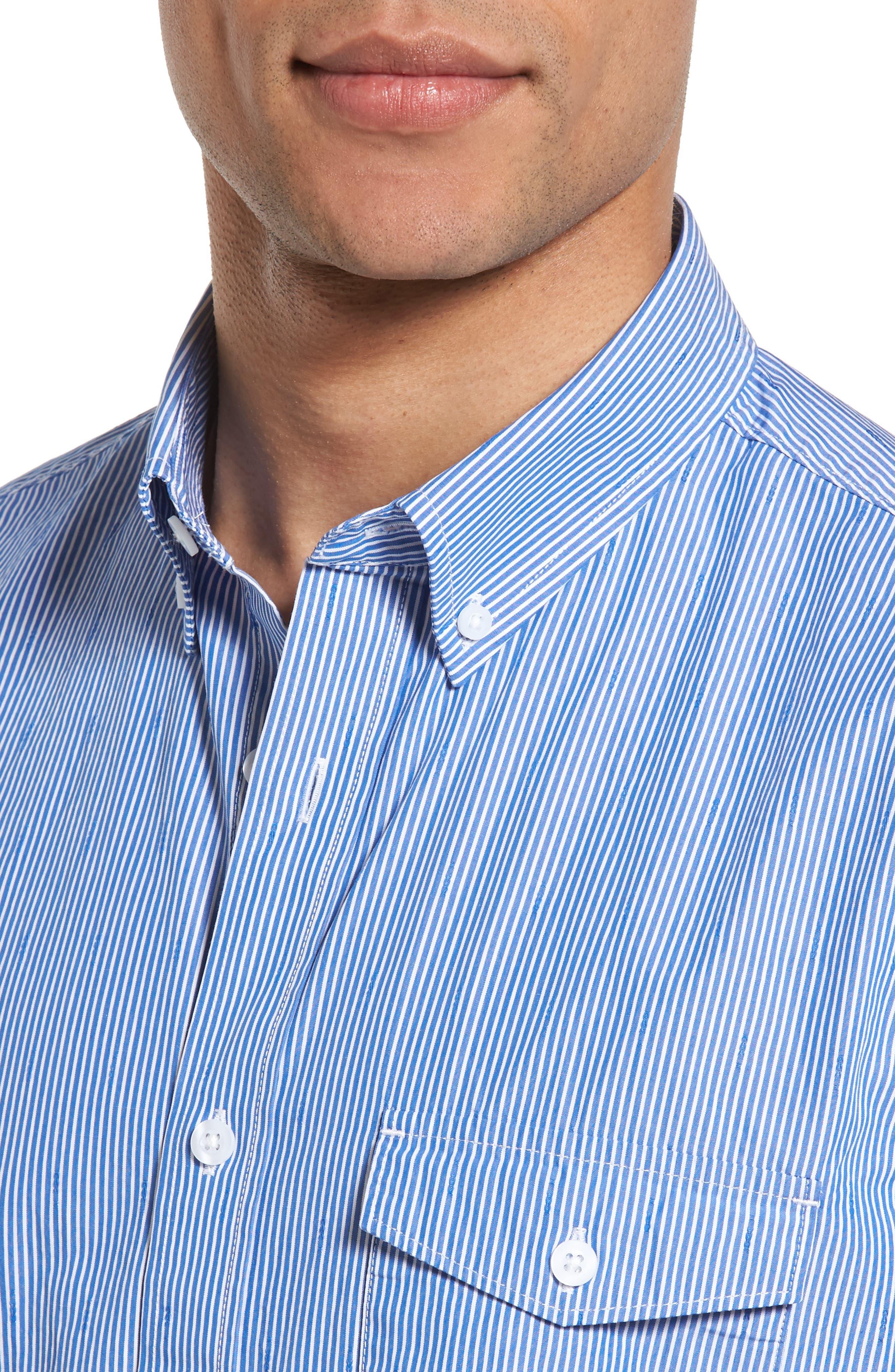 Slim Fit Stripe Sport Shirt,                             Alternate thumbnail 4, color,