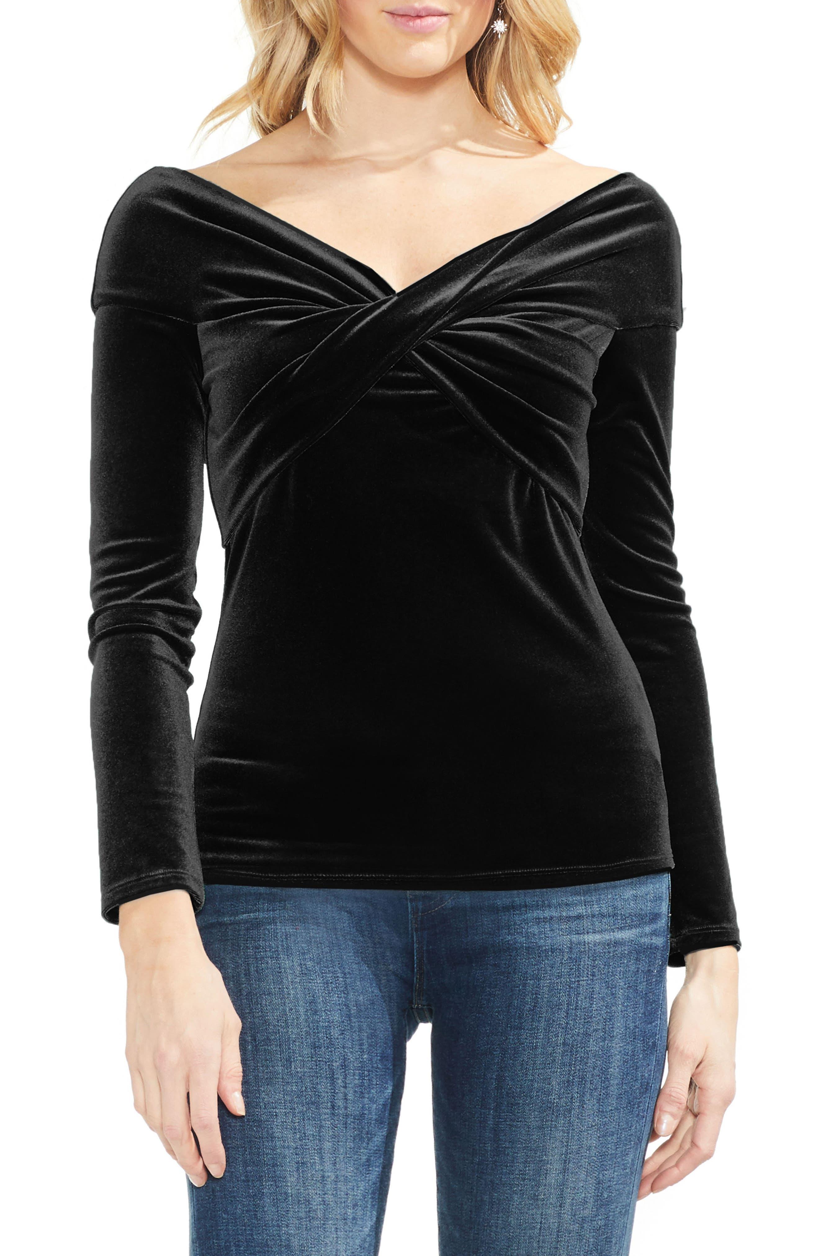 Cross Front Stretch Velvet Top,                         Main,                         color, RICH BLACK