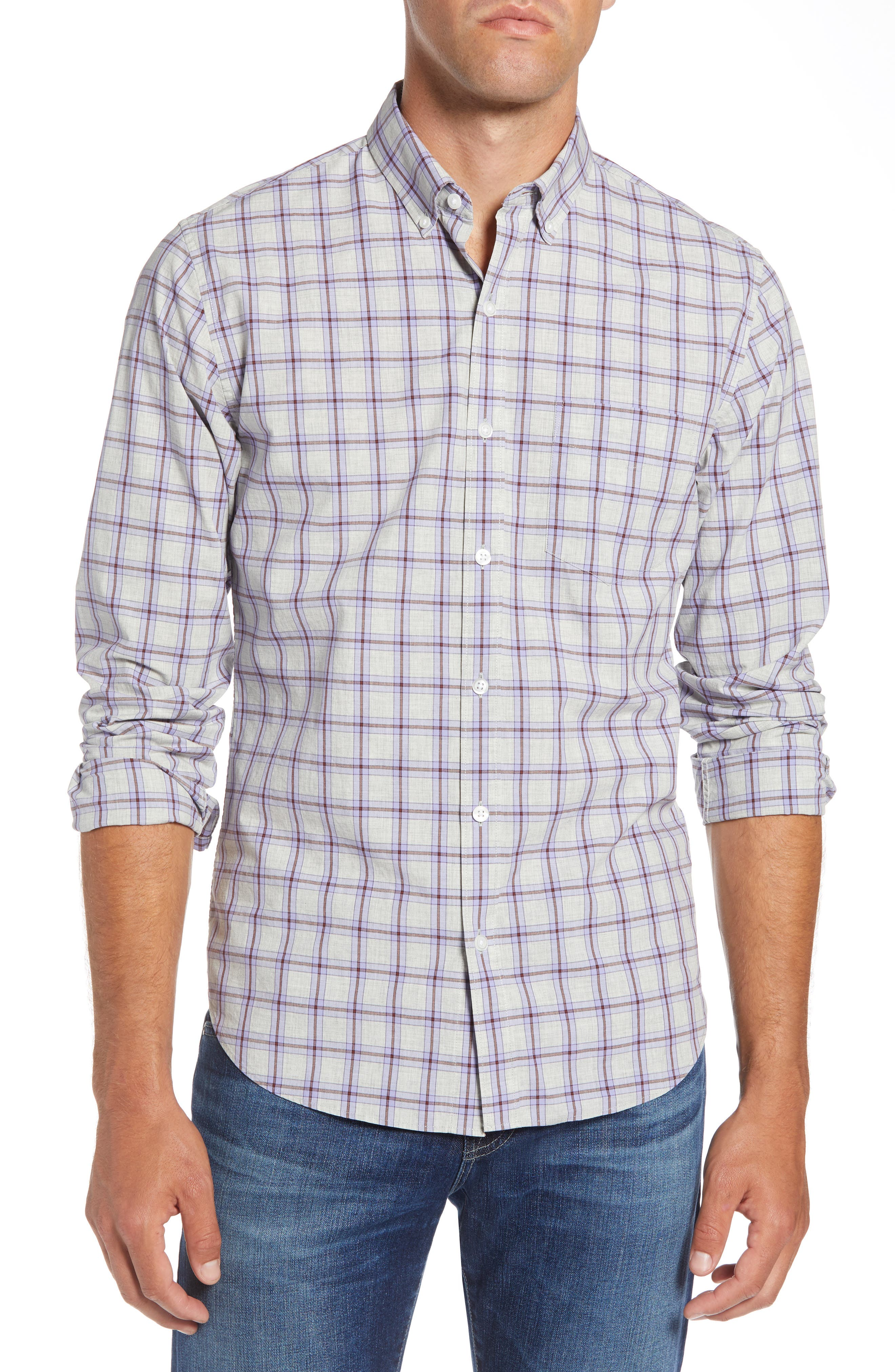 Slim Fit Washed Check Sport Shirt,                         Main,                         color, STONEGATE CHECK - AZULENE