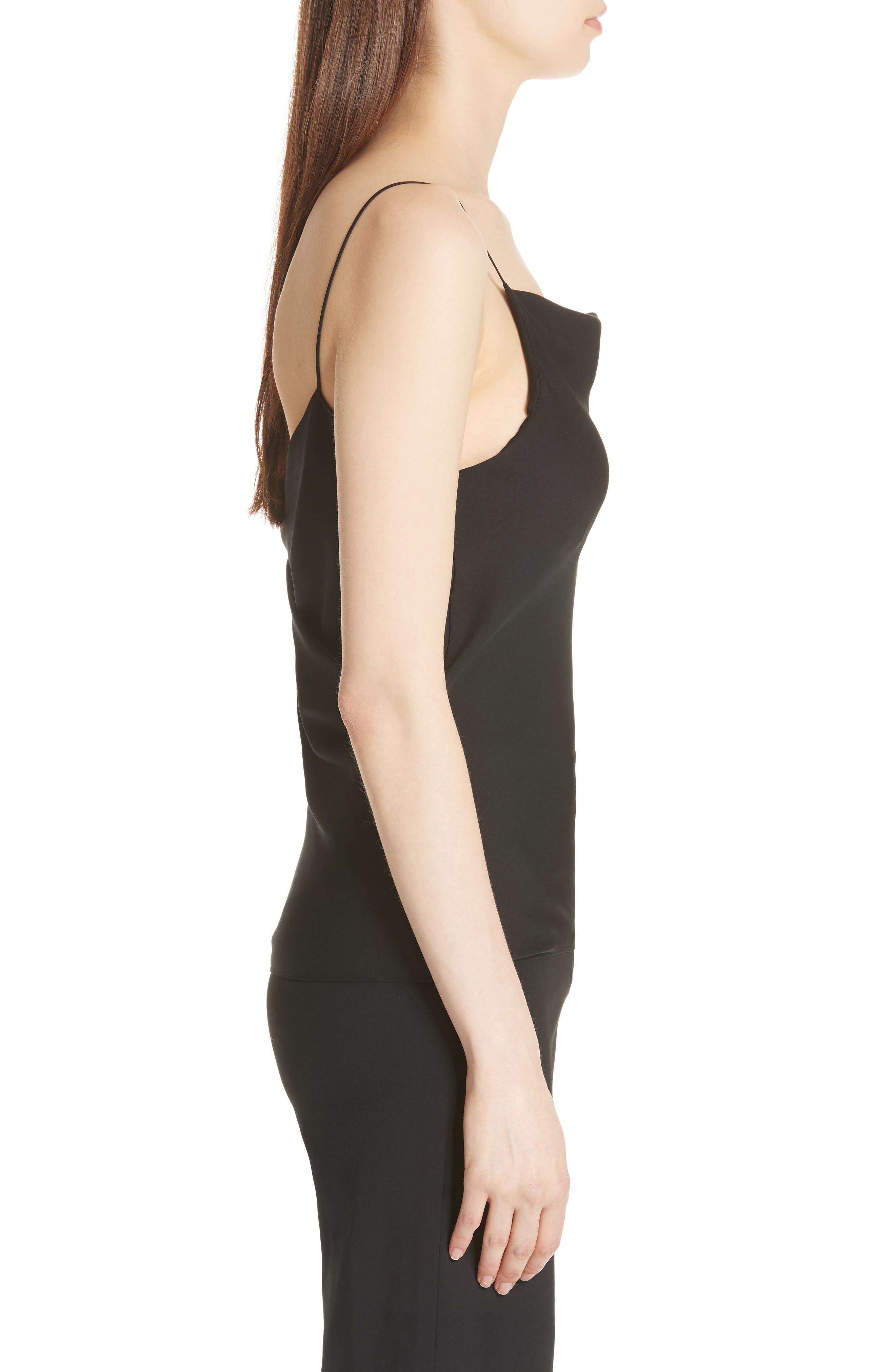 THEORY,                             Cowl Back Silk Camisole,                             Alternate thumbnail 3, color,                             001