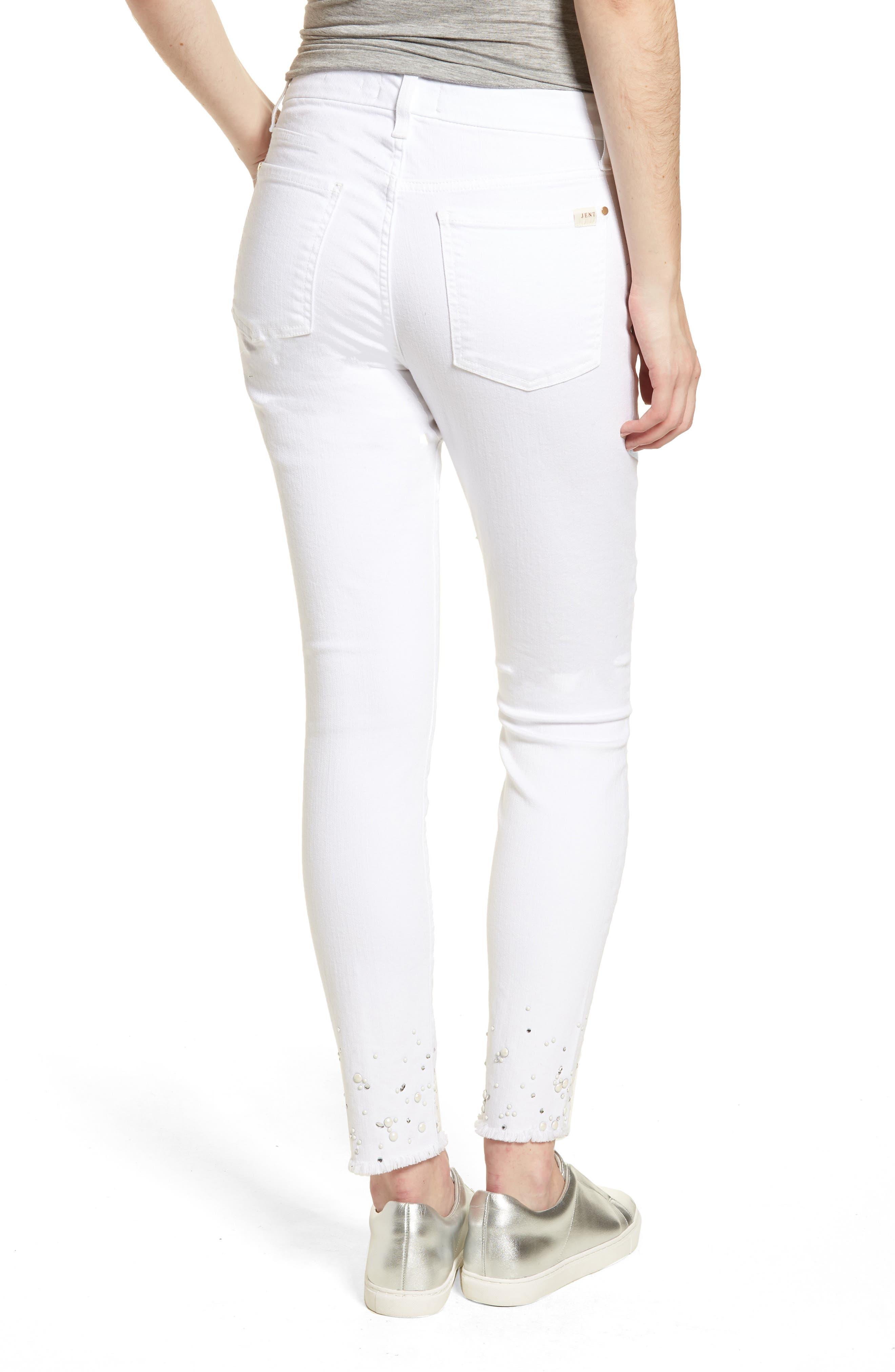 Crystal Hem Ankle Skinny Jeans,                             Alternate thumbnail 2, color,                             WHITE