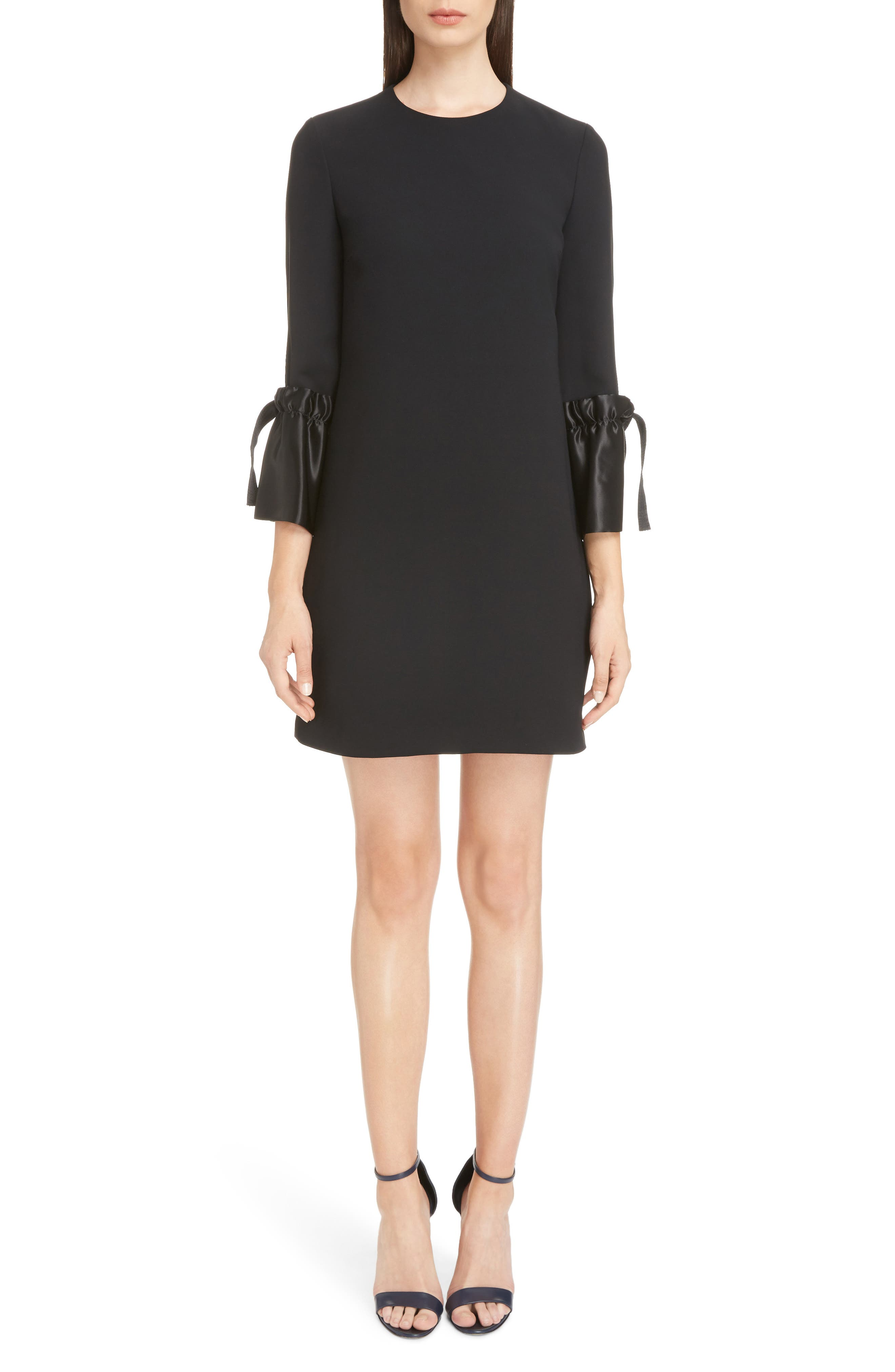 Tie Cuff Shift Dress,                             Main thumbnail 1, color,                             001