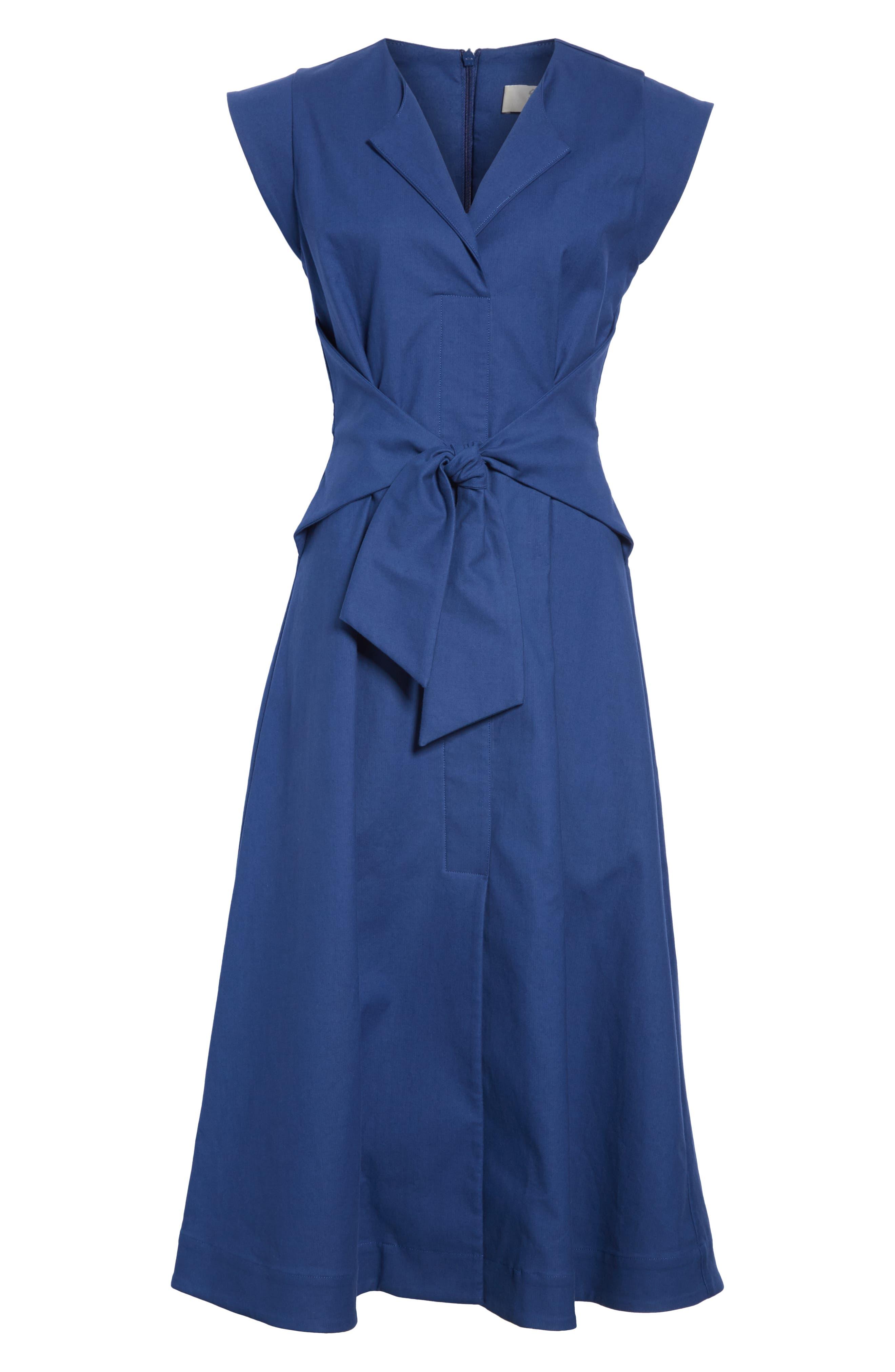 Lennox Belted Midi Dress,                             Alternate thumbnail 7, color,                             BLUE