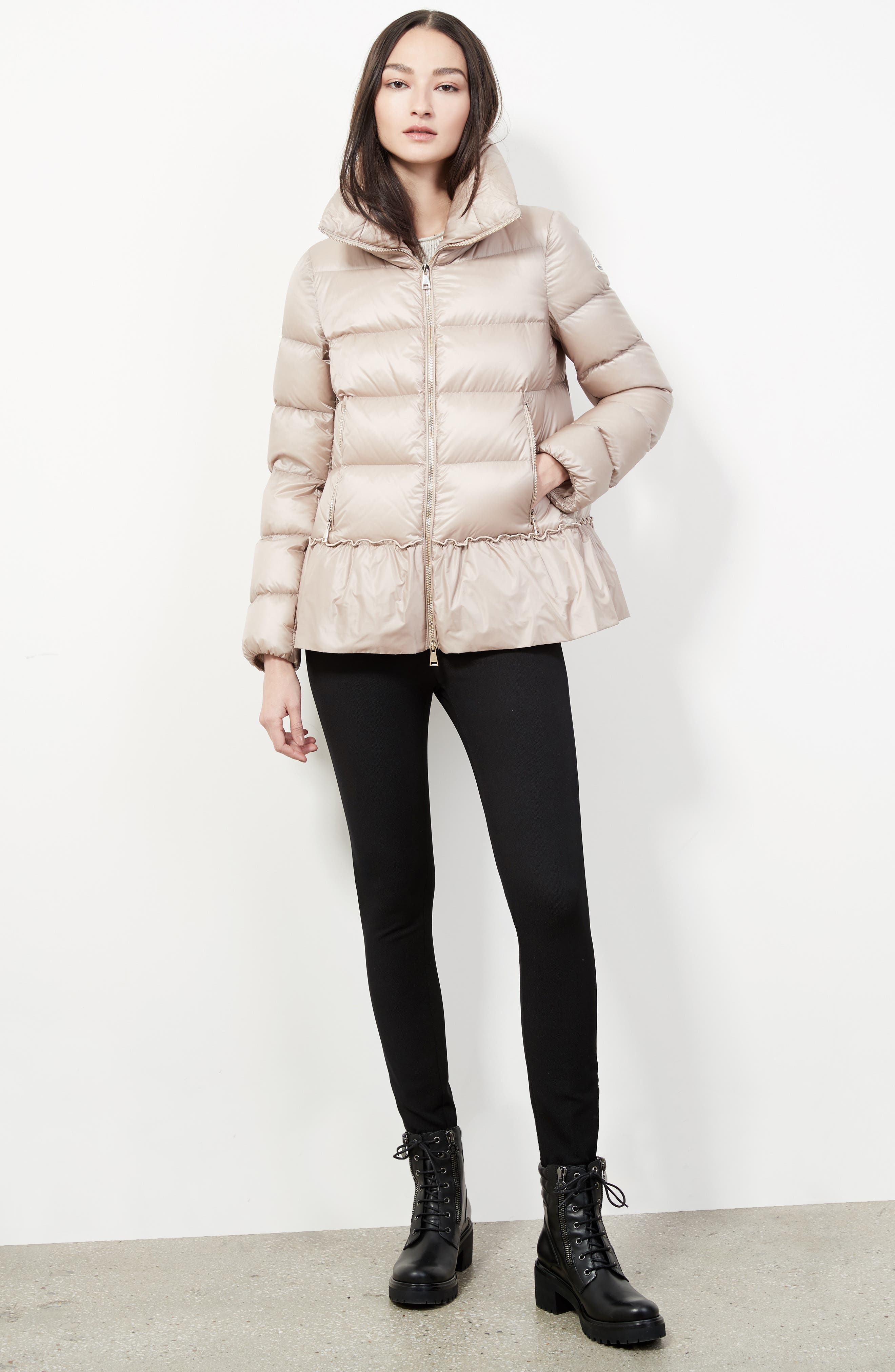 Anet Peplum Down Puffer Jacket,                             Alternate thumbnail 7, color,                             NATURAL