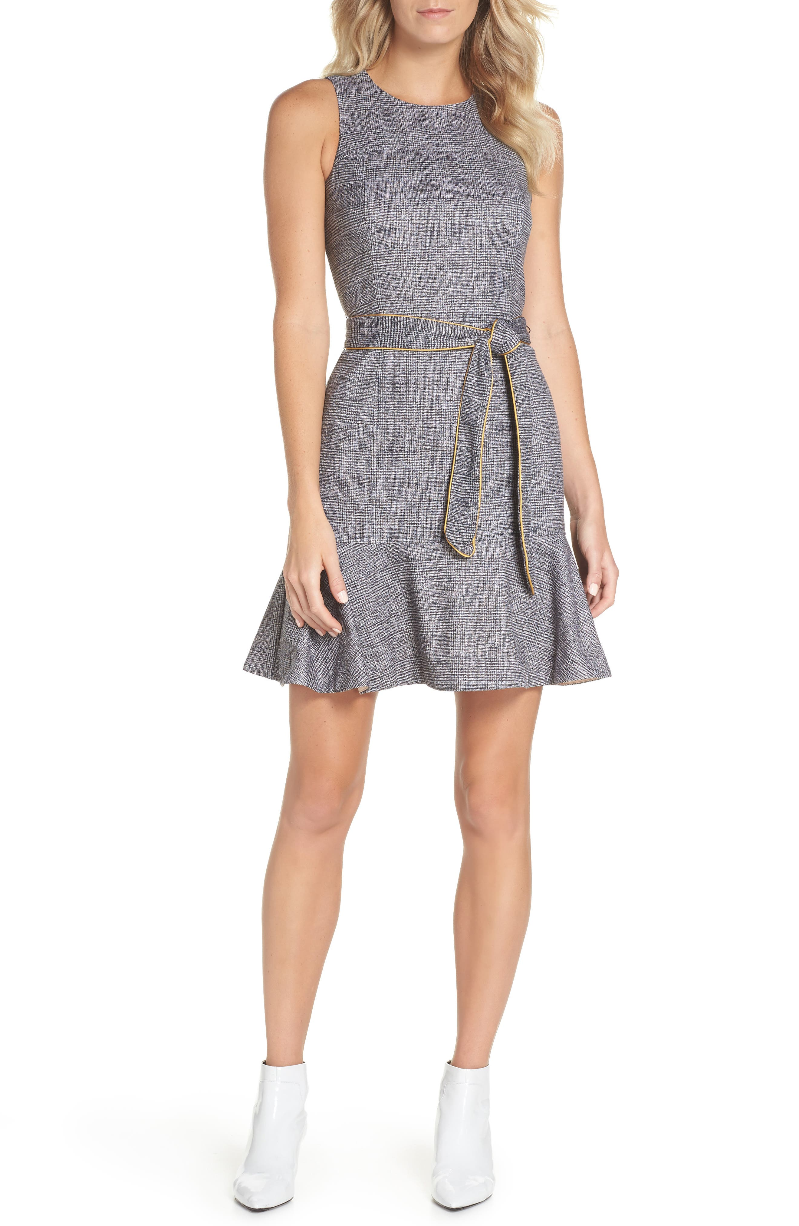 CHELSEA28 Sleeveless Plaid Dress, Main, color, 001