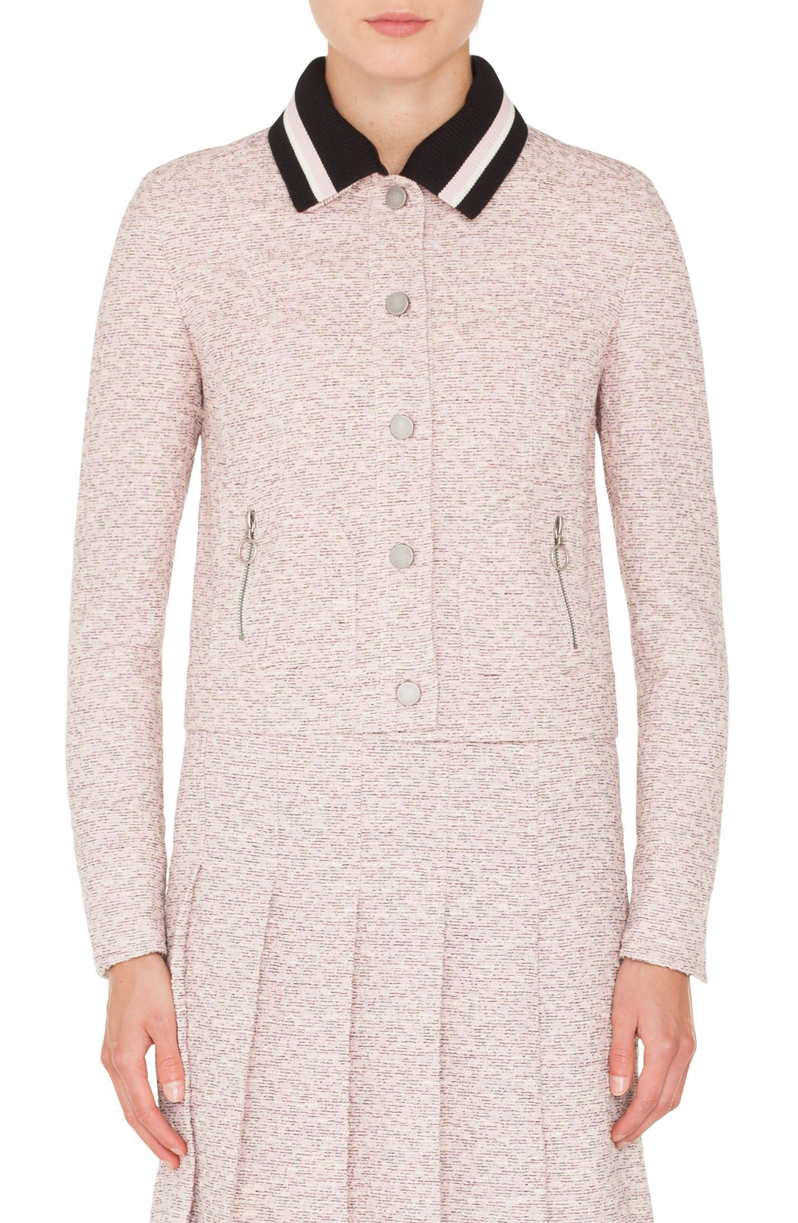 Button Front Tweed Jacket with Detachable Knit Collar,                         Main,                         color, ROSE - CREAM -