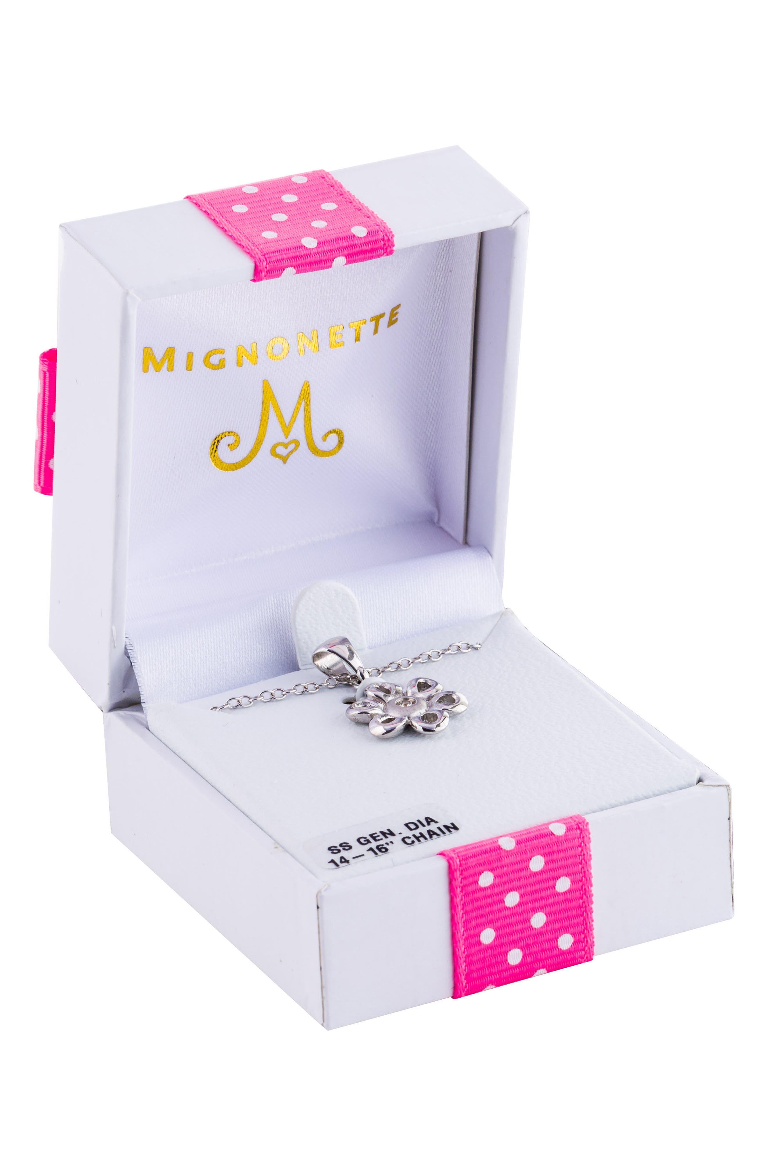 Mignonnete Sterling Silver & Diamond Flower Necklace,                             Alternate thumbnail 2, color,