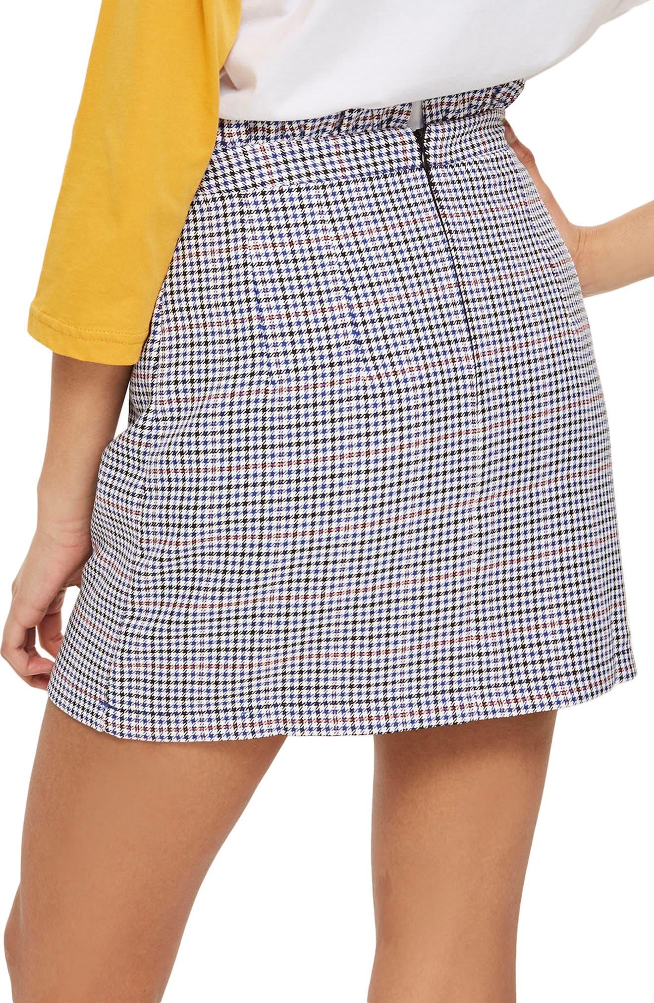 Pop Check Frill Waist Miniskirt,                             Alternate thumbnail 2, color,                             100