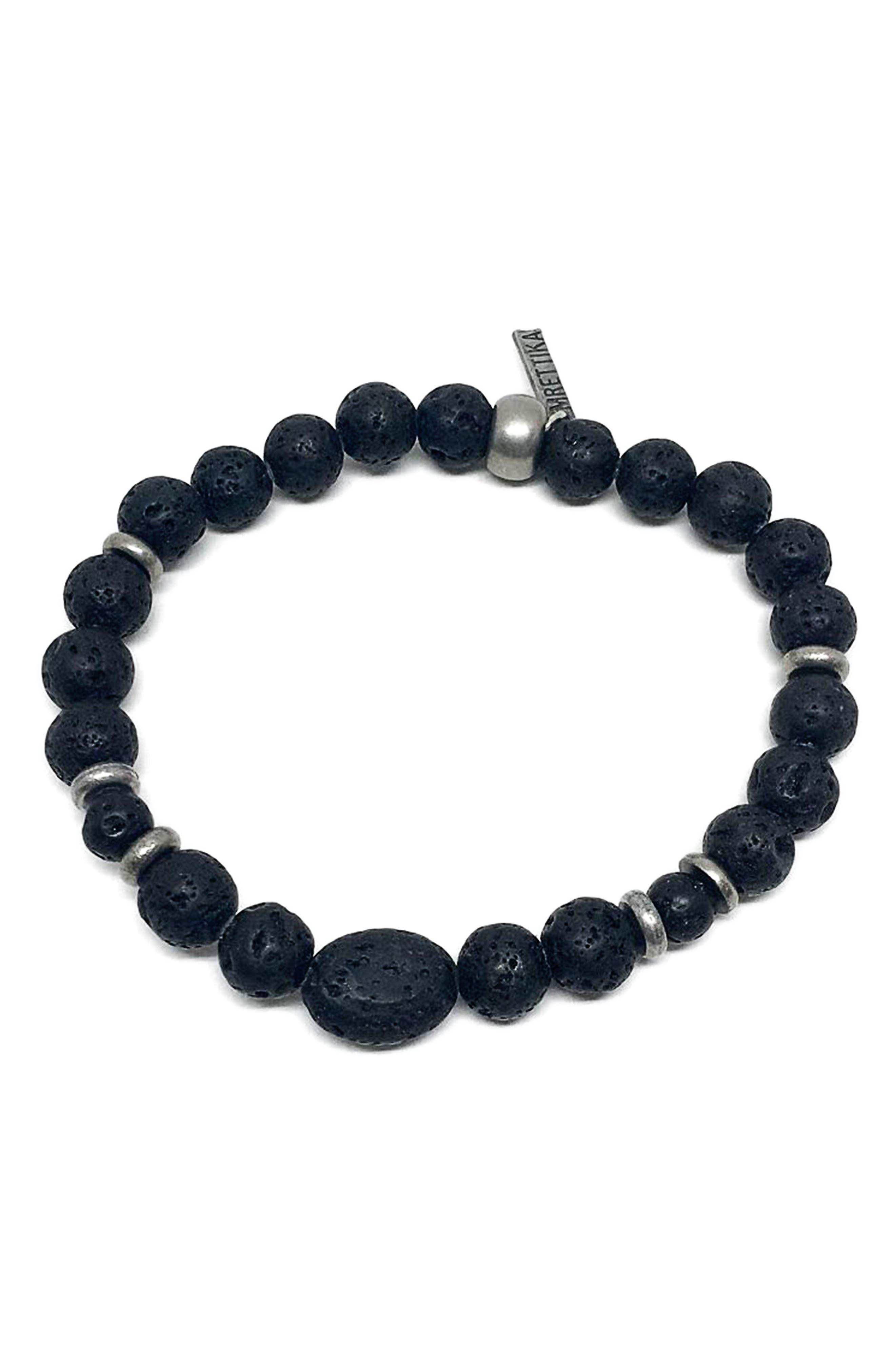 Black Hero Lava Stone Bracelet,                             Main thumbnail 1, color,                             001