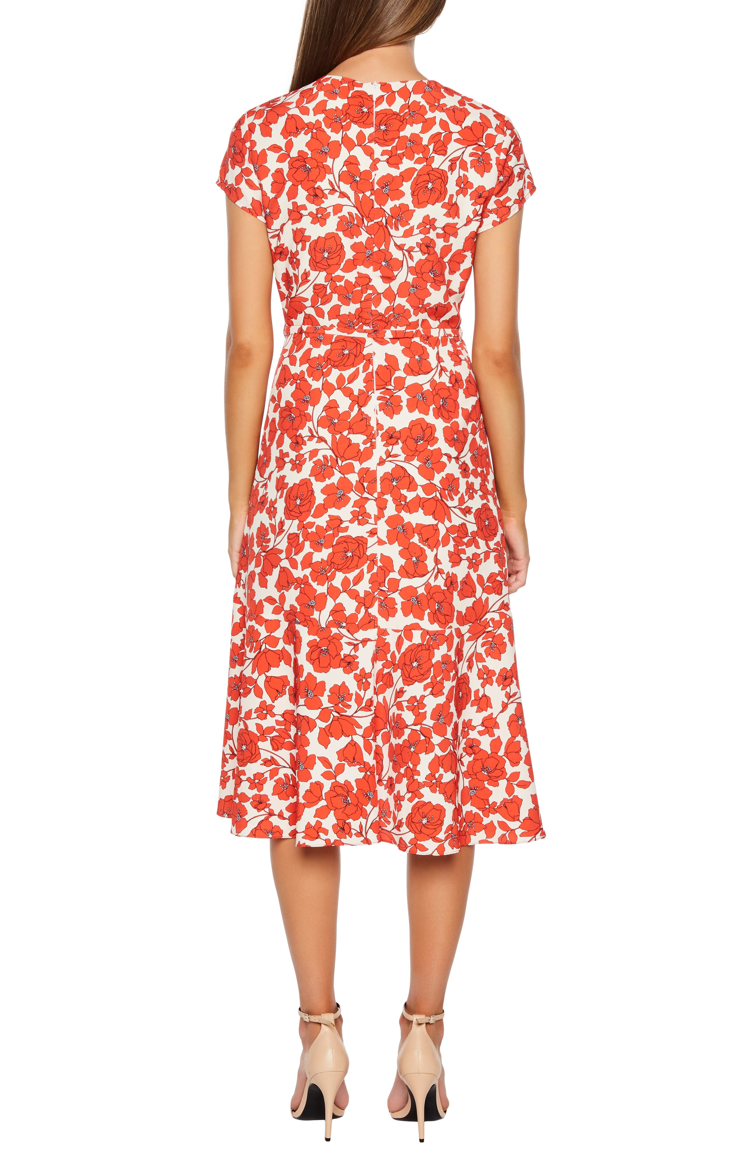 BARDOT,                             Fiesta Floral Midi Dress,                             Alternate thumbnail 2, color,                             ORANGE FLORAL