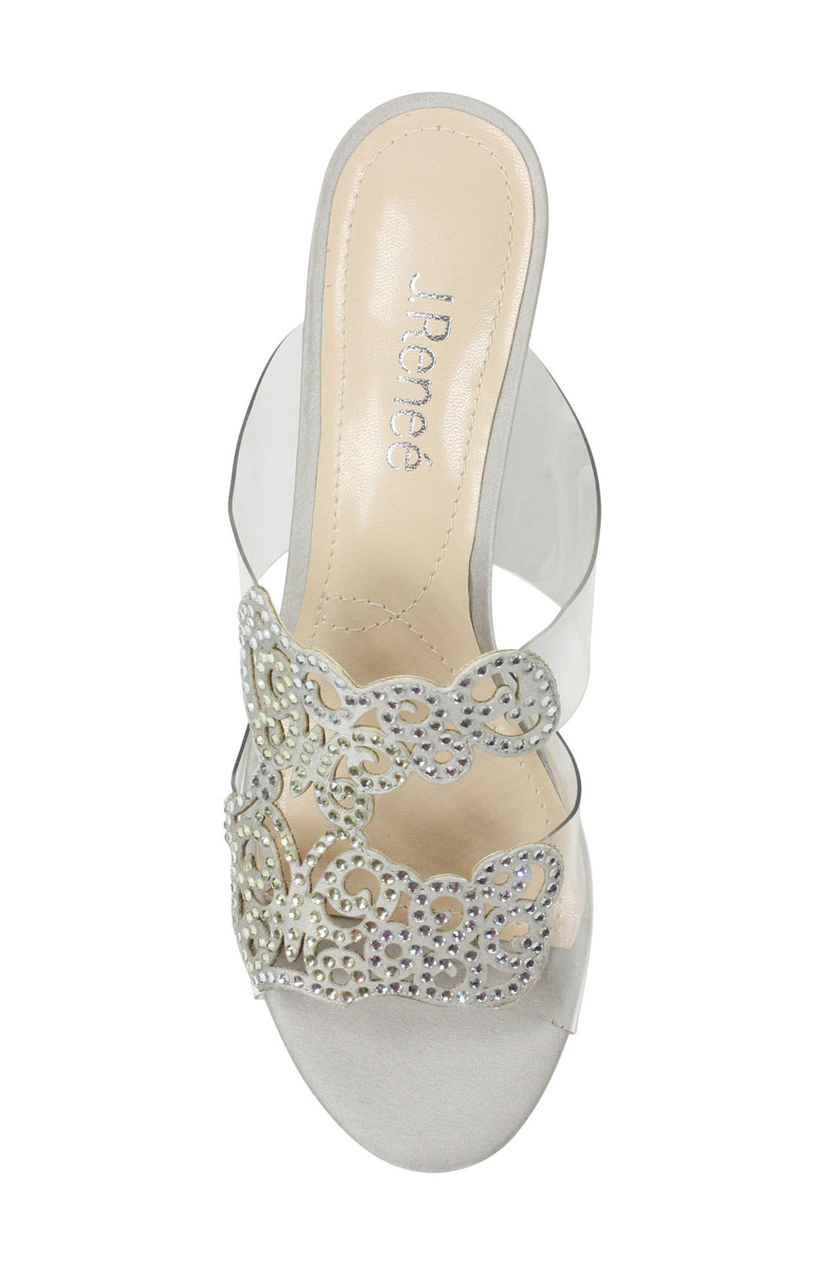 Sabreen Crystal Embellished Sandal,                             Alternate thumbnail 5, color,                             SILVER/ CLEAR