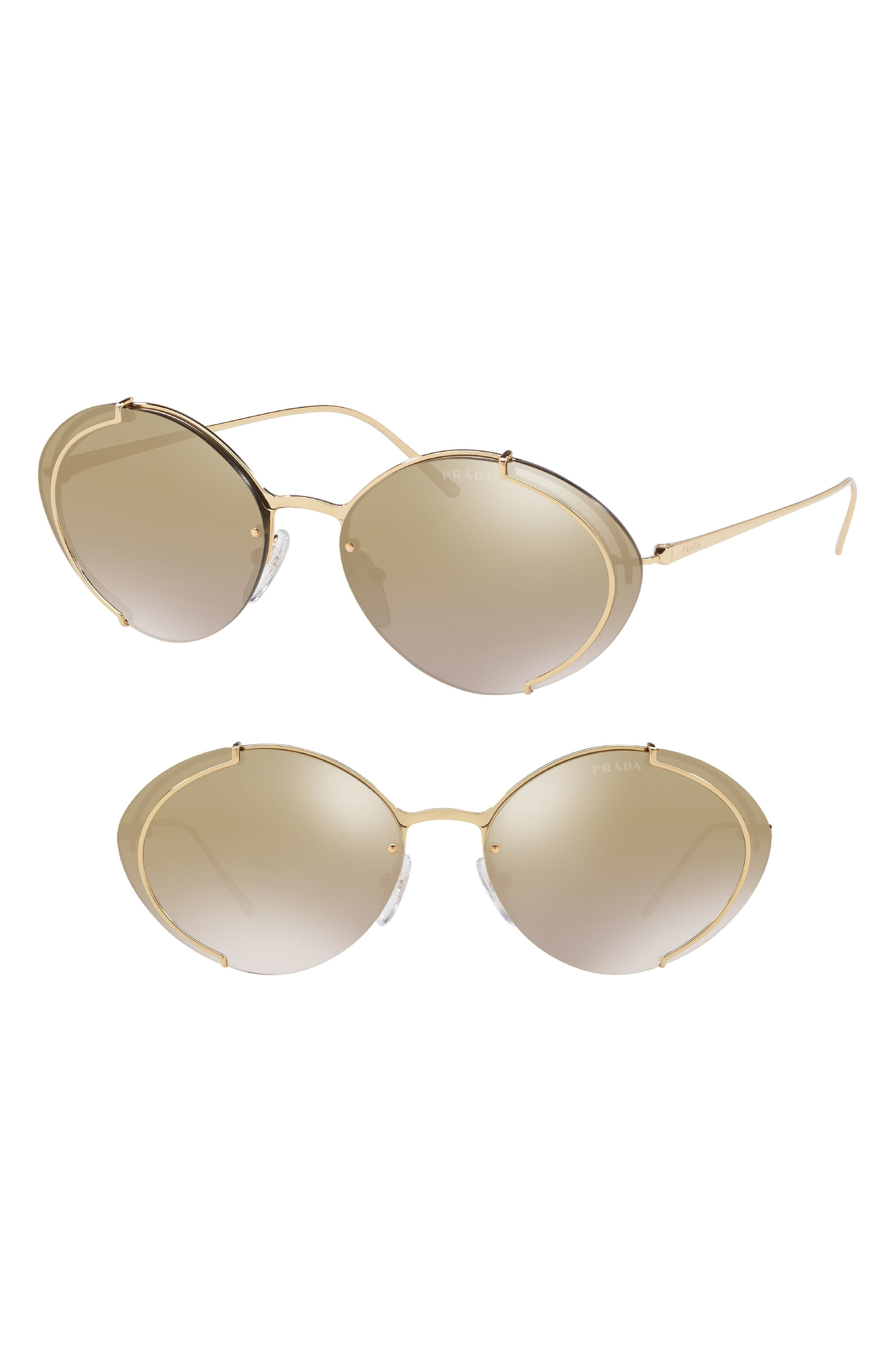Evolution 63mm Oversize Rimless Oval Sunglasses,                             Main thumbnail 1, color,                             GOLD GRADIENT MIRROR