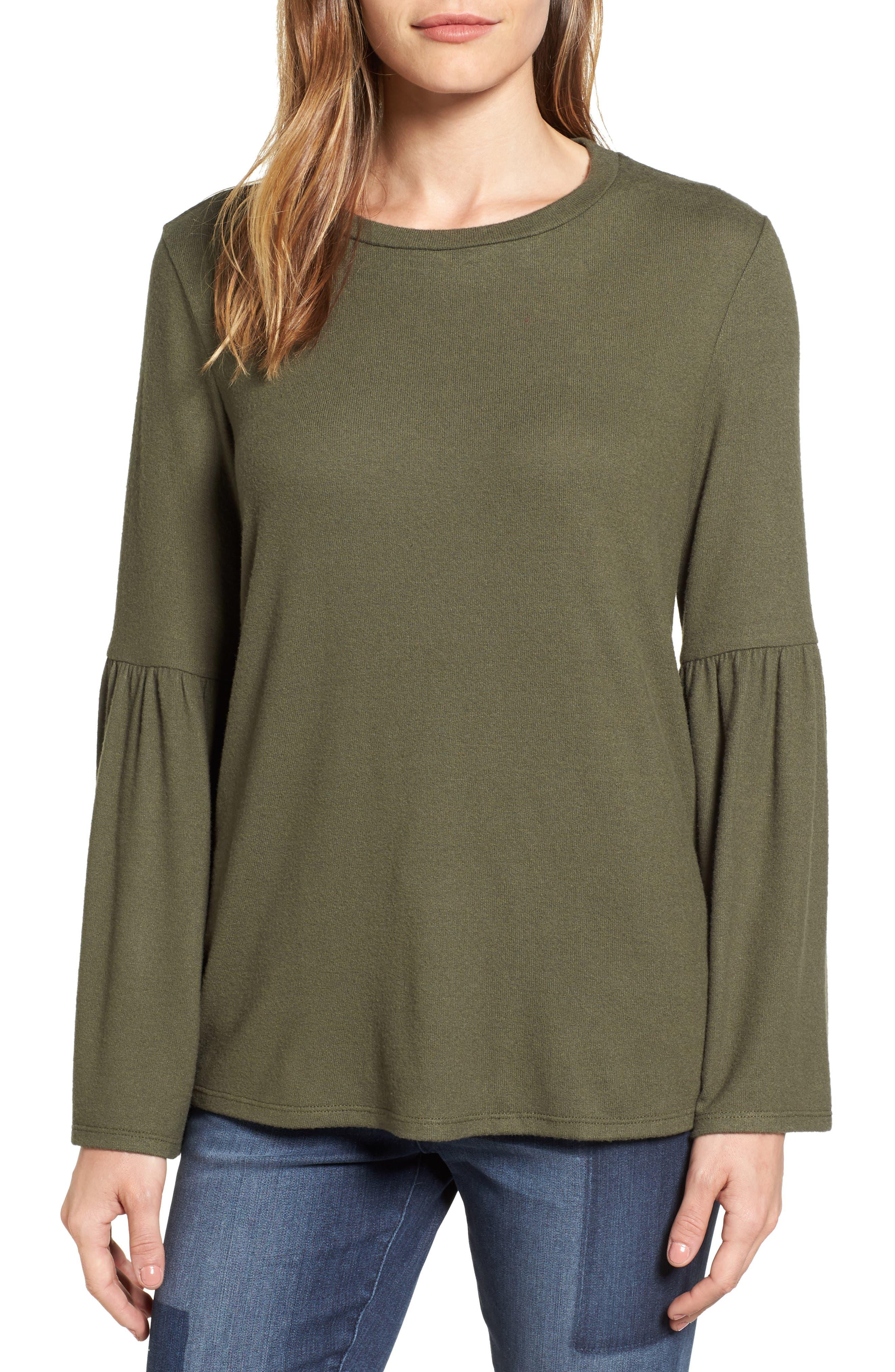 Bell Sleeve Cozy Fleece Pullover,                             Main thumbnail 8, color,