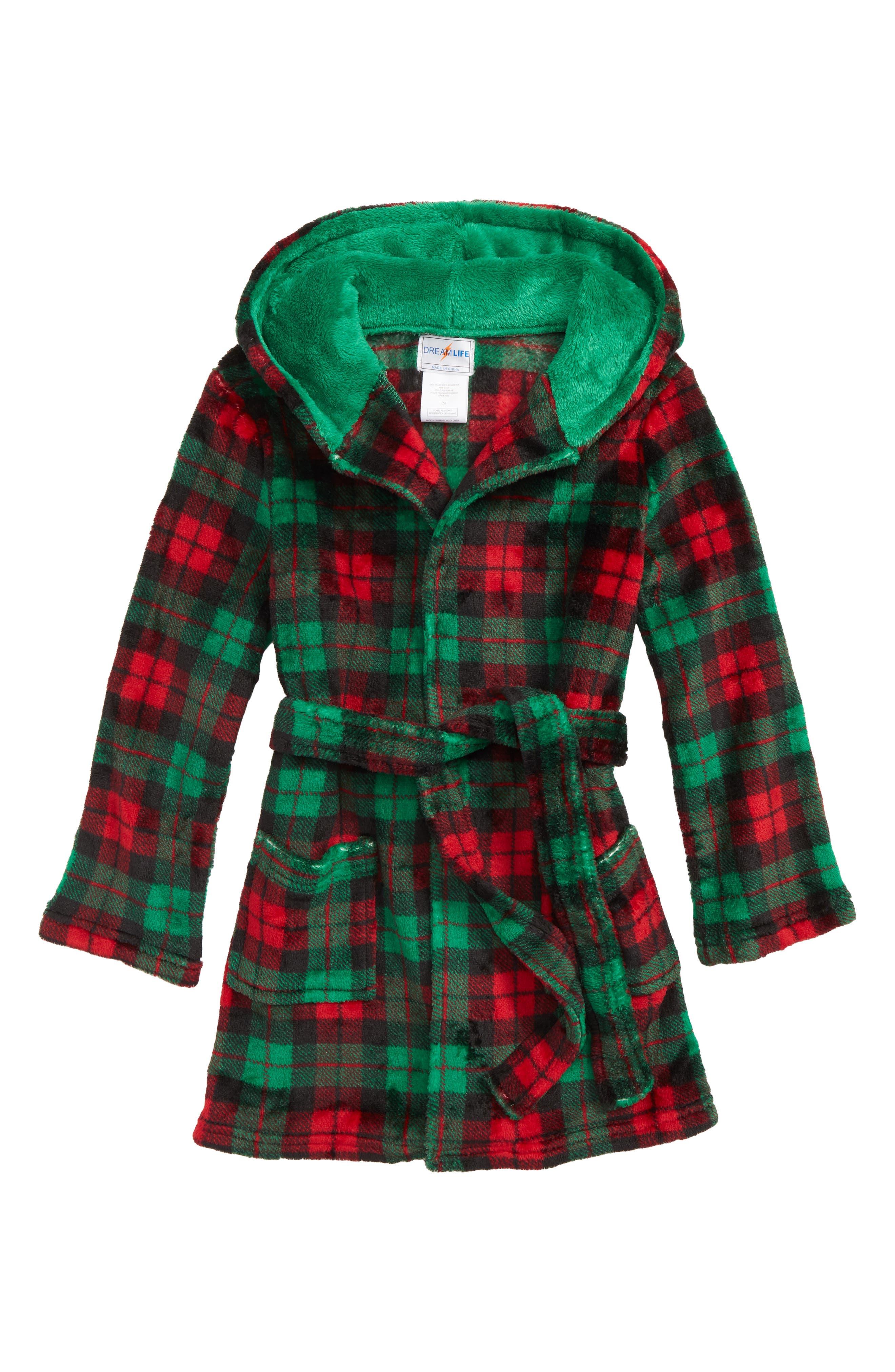 Plaid Robe,                         Main,                         color, RDGRN