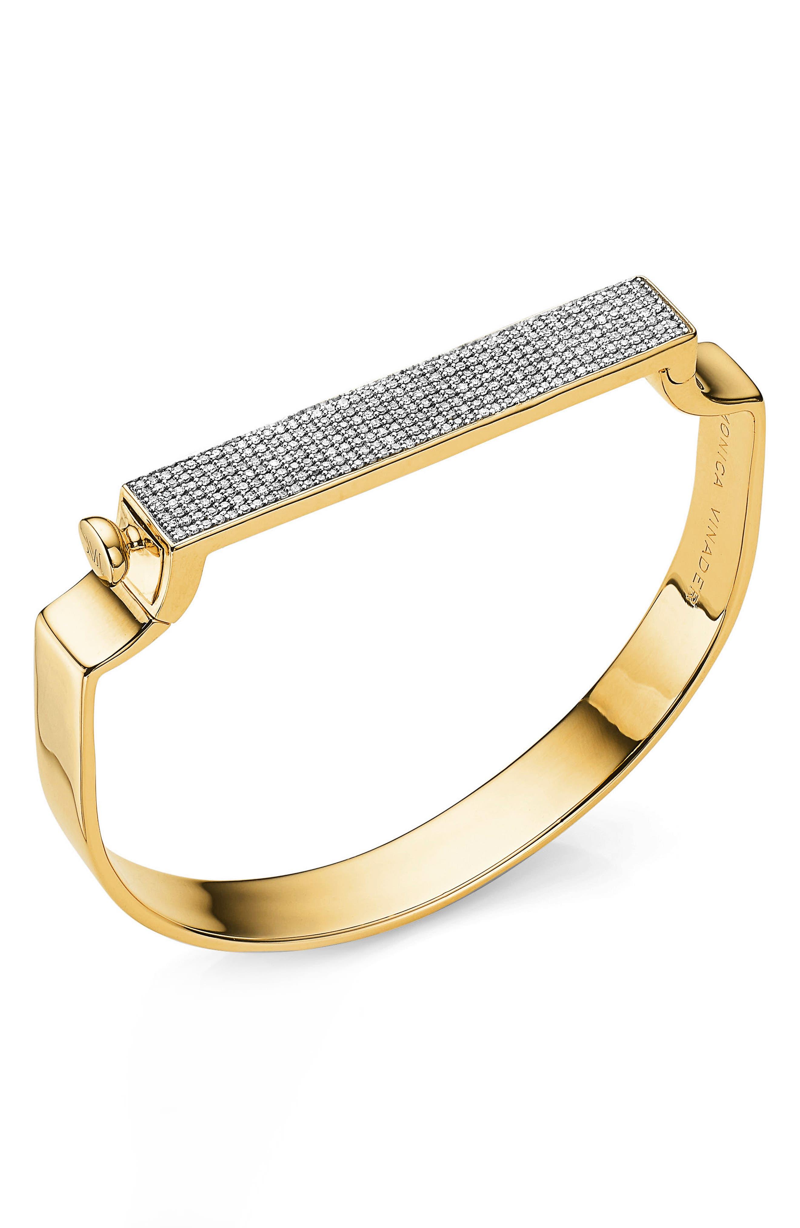 Signature Diamond Bangle,                             Main thumbnail 1, color,                             YELLOW GOLD