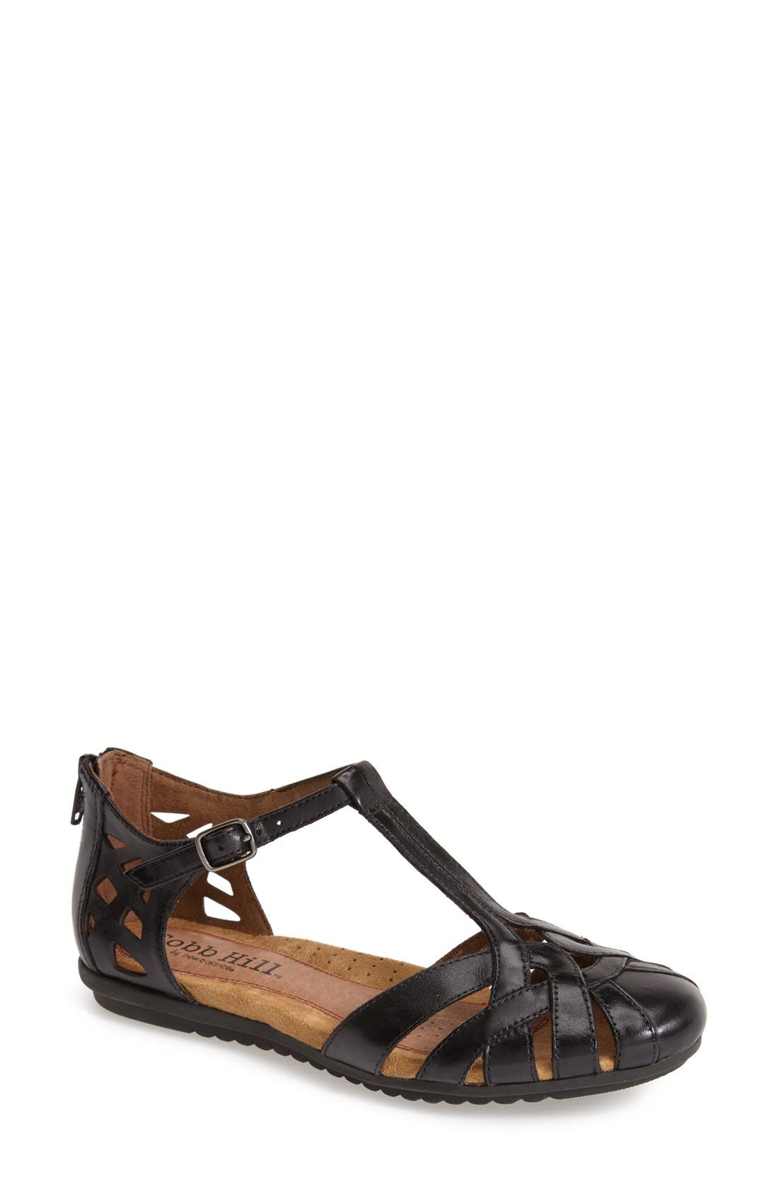 'Ireland' Leather Sandal,                             Main thumbnail 1, color,                             BLACK