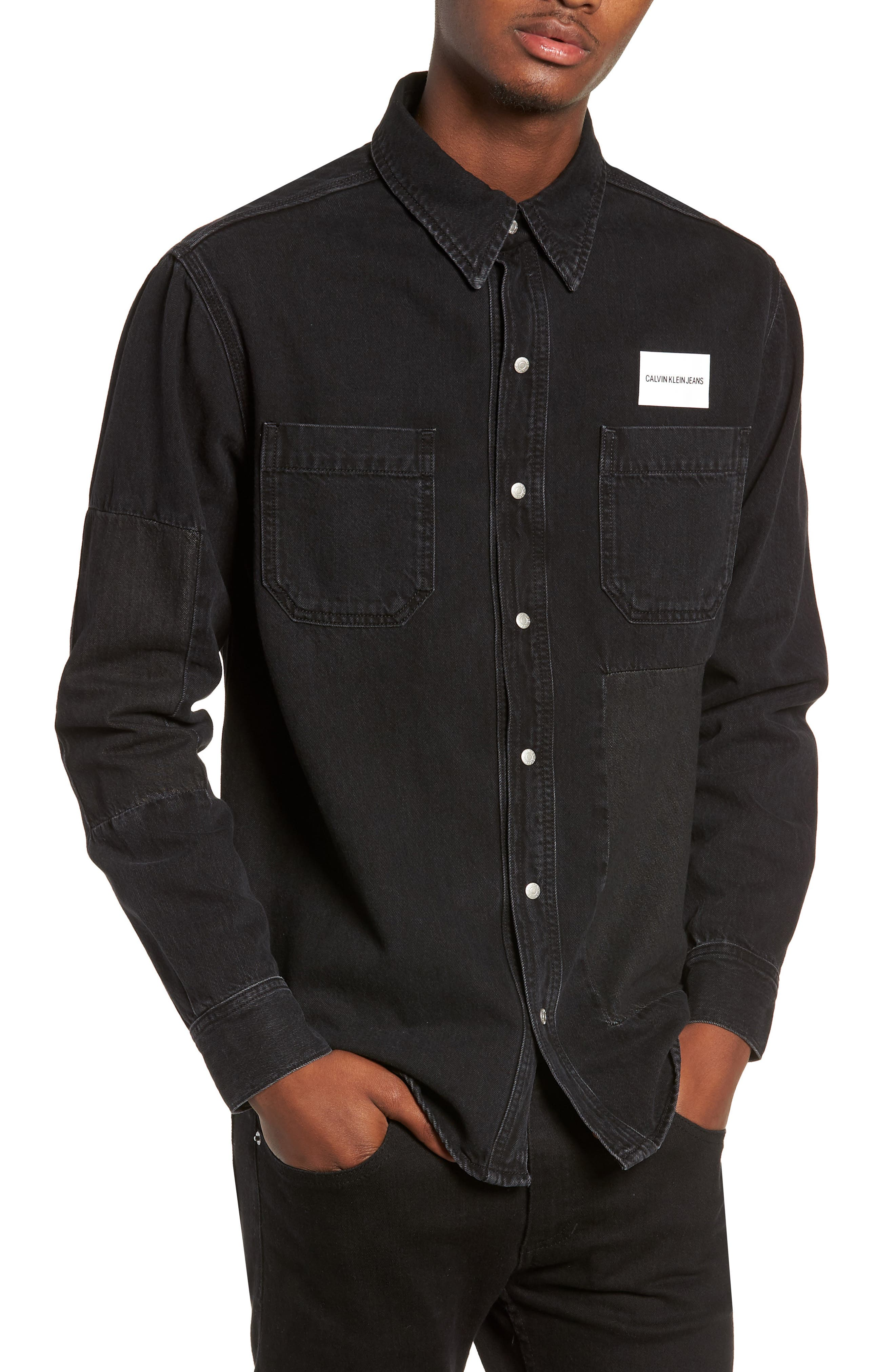 Patched Utility Shirt,                             Main thumbnail 1, color,                             TRAP BLACK