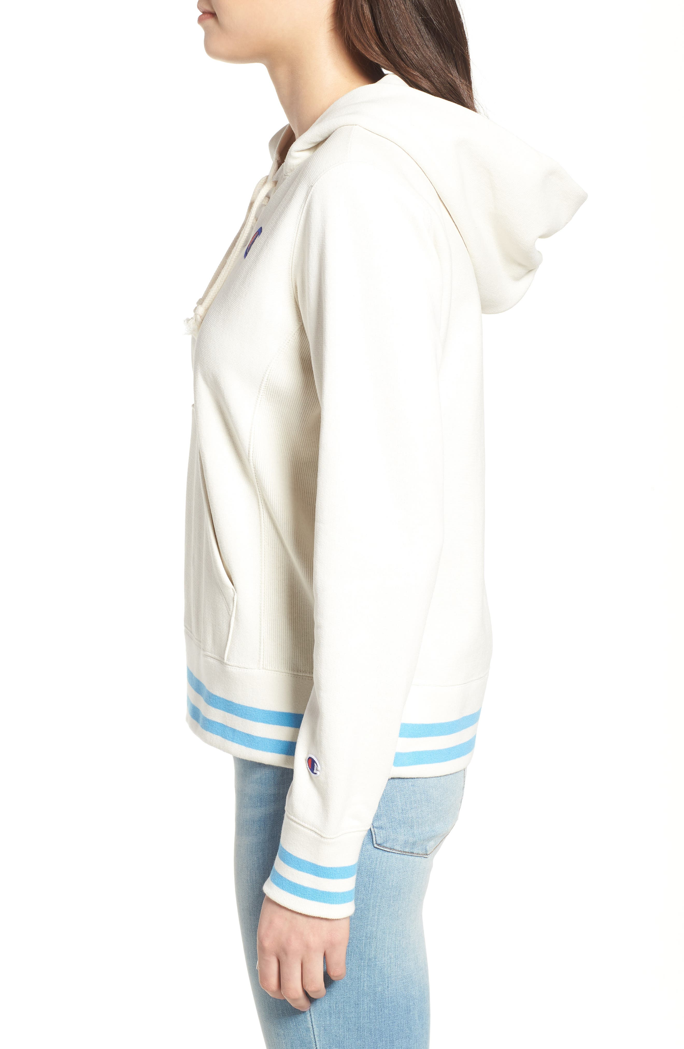 CHAMPION,                             Lace-Up Terry Hoodie,                             Alternate thumbnail 3, color,                             110