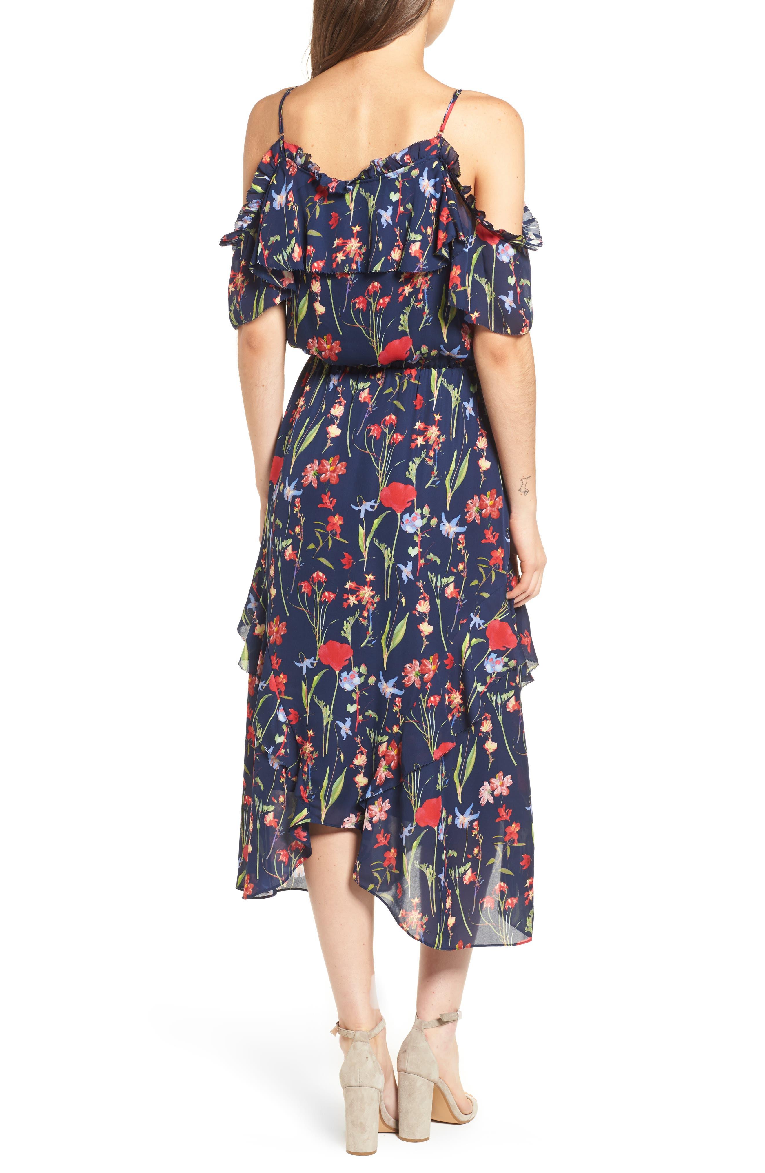 Kam Cold Shoulder Silk Dress,                             Alternate thumbnail 2, color,                             416
