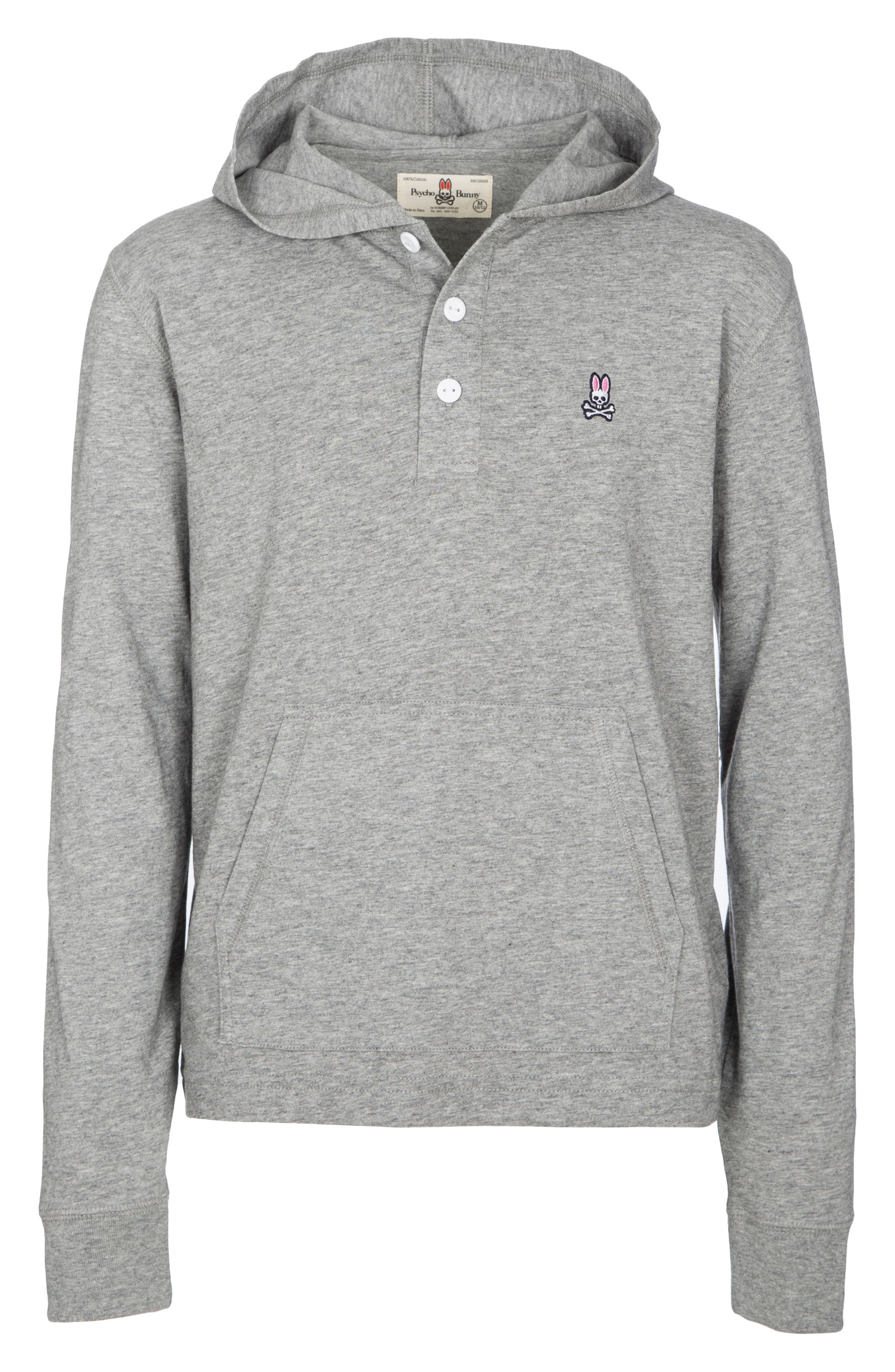 Delano Henley Pullover Hoodie,                             Main thumbnail 1, color,                             HEATHER GREY