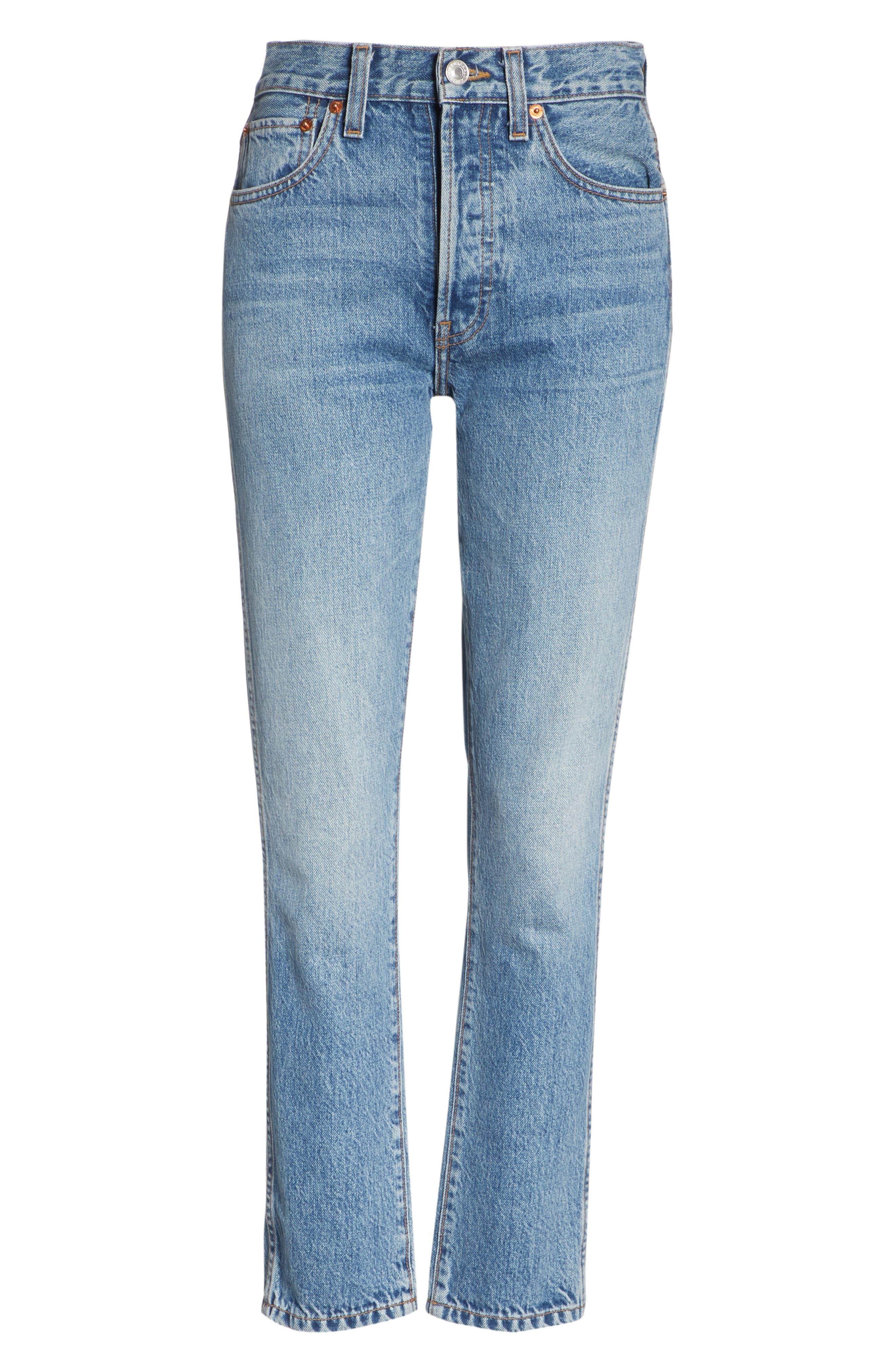 Originals High Waist Double Needle Ankle Jeans,                             Alternate thumbnail 6, color,                             400