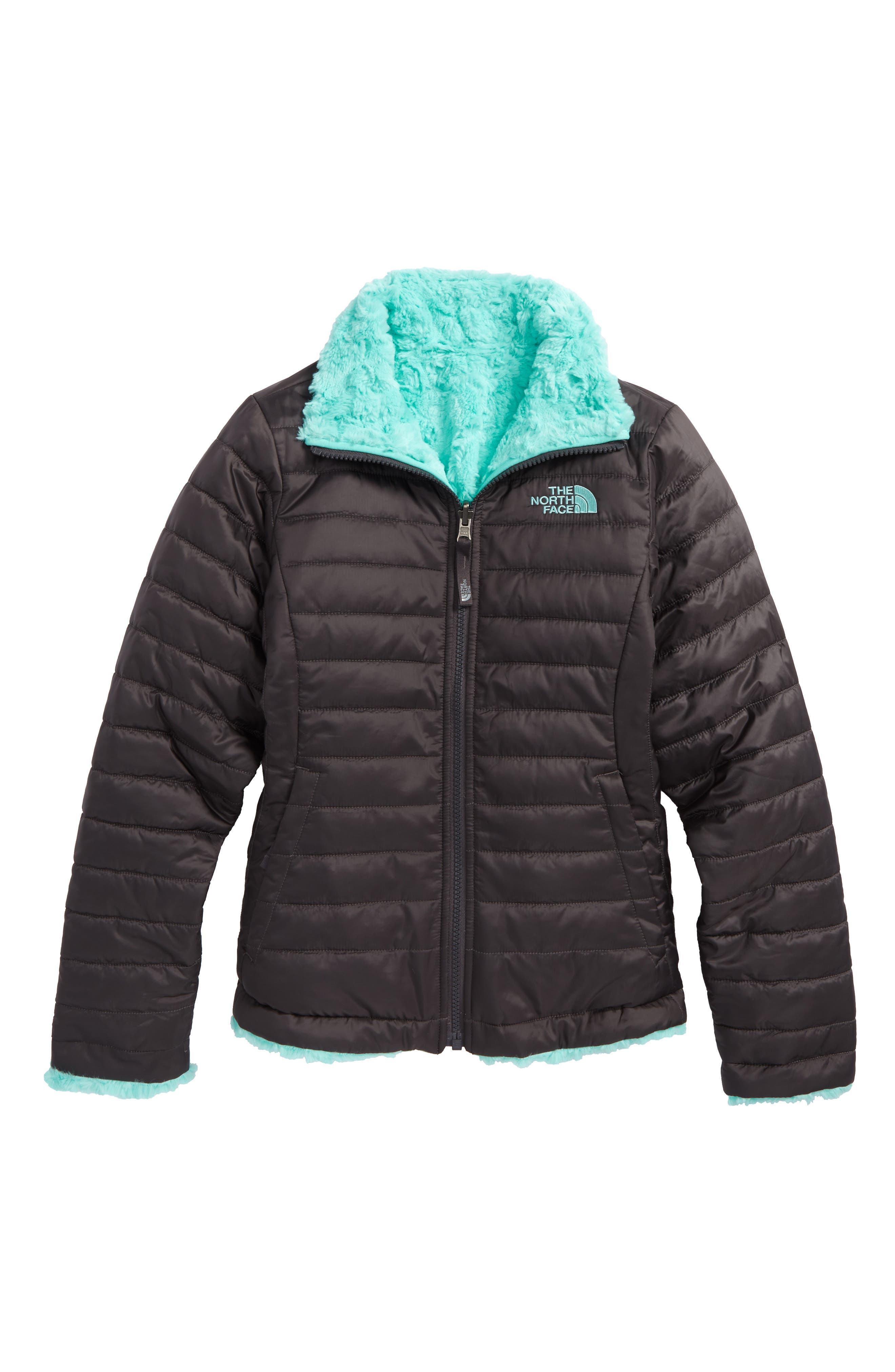 Mossbud Swirl Reversible Water Repellent Jacket,                         Main,                         color, GRAPHITE GREY/ MINT BLUE