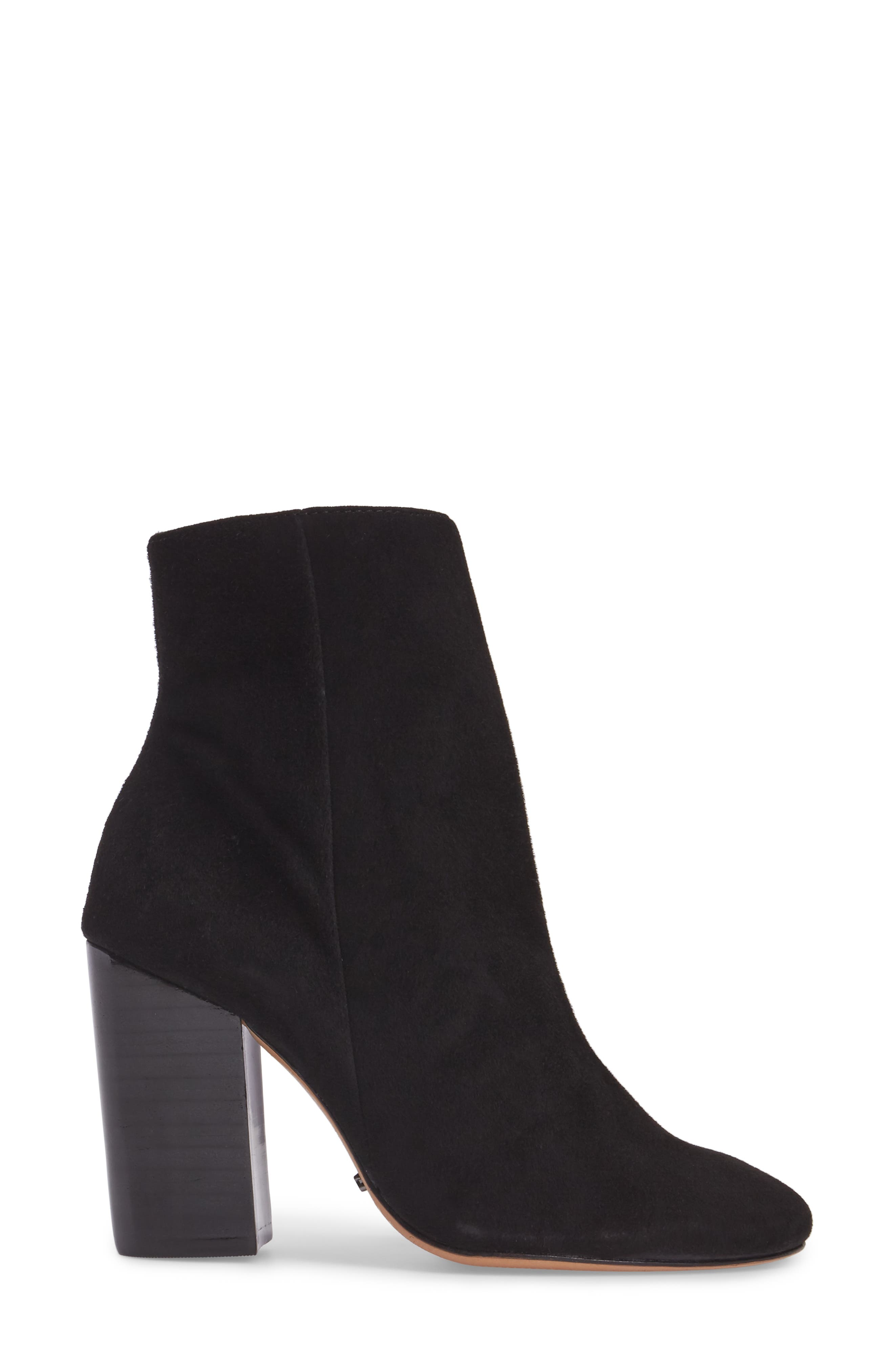 Ravan Block Heel Bootie,                             Alternate thumbnail 3, color,                             001