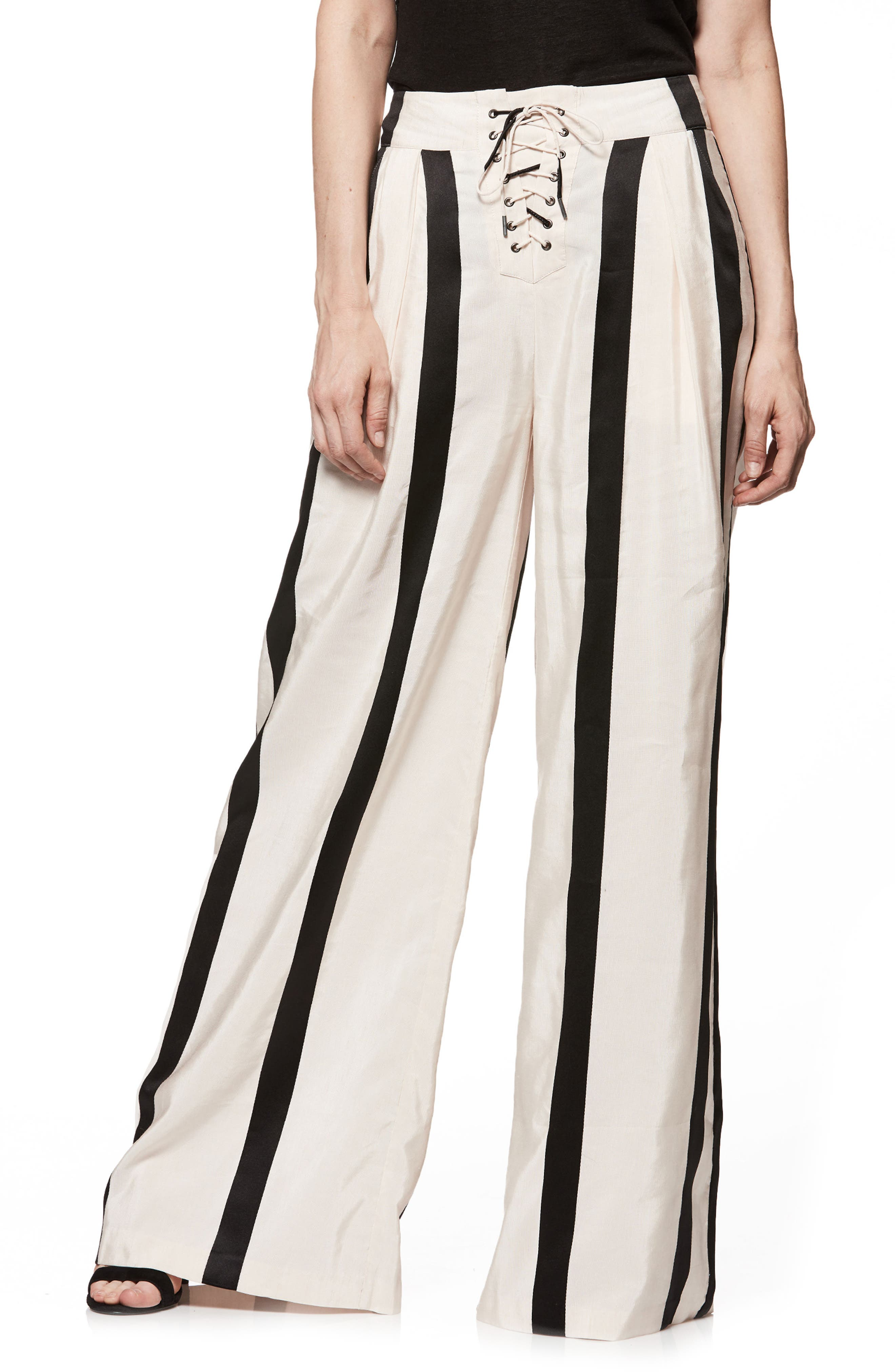 Capucine High Waist Wide Leg Pants,                         Main,                         color, BLUSH WITH BLACK