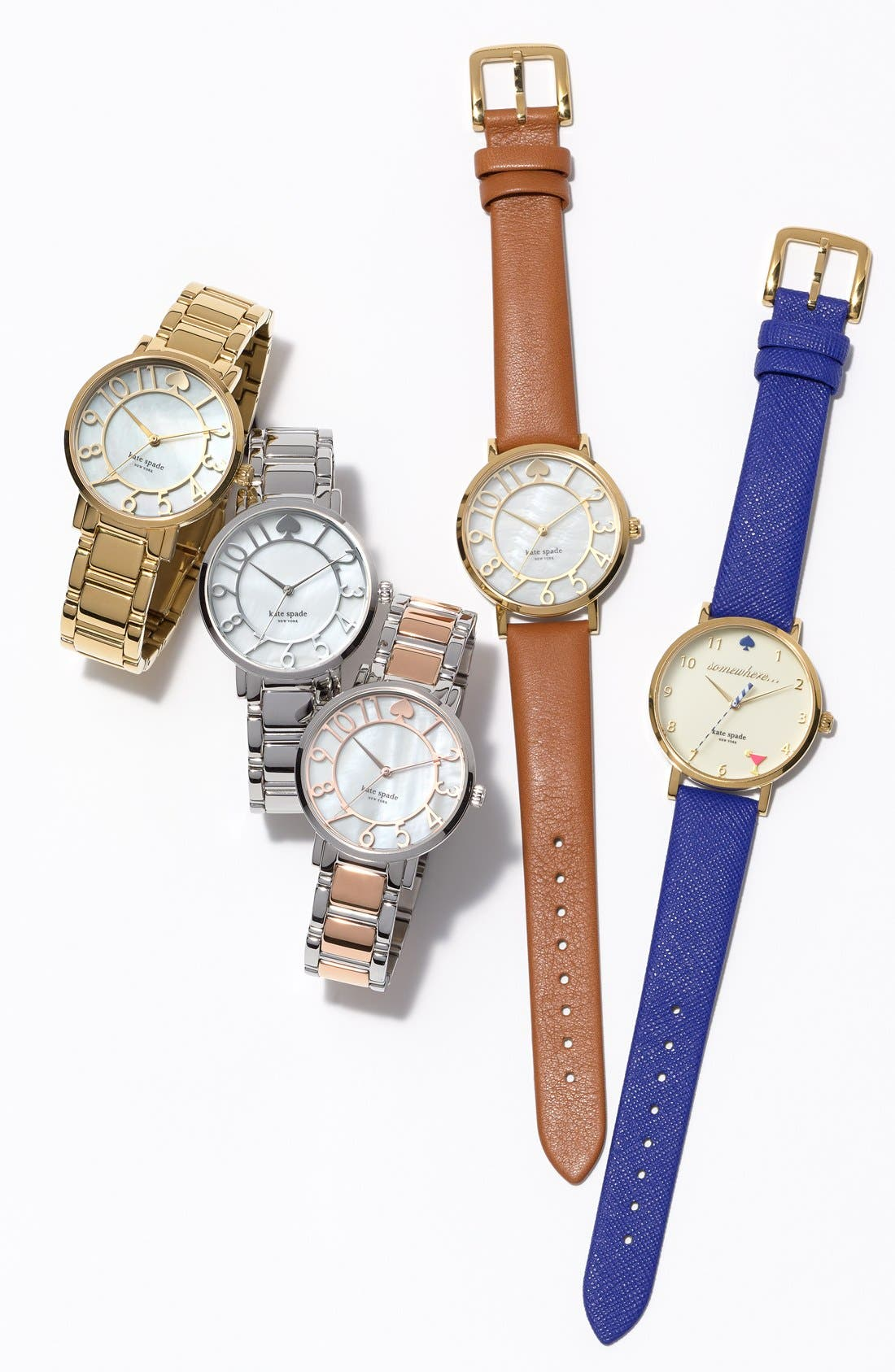 'metro - happy hour' leather strap watch, 34mm,                             Alternate thumbnail 4, color,                             400