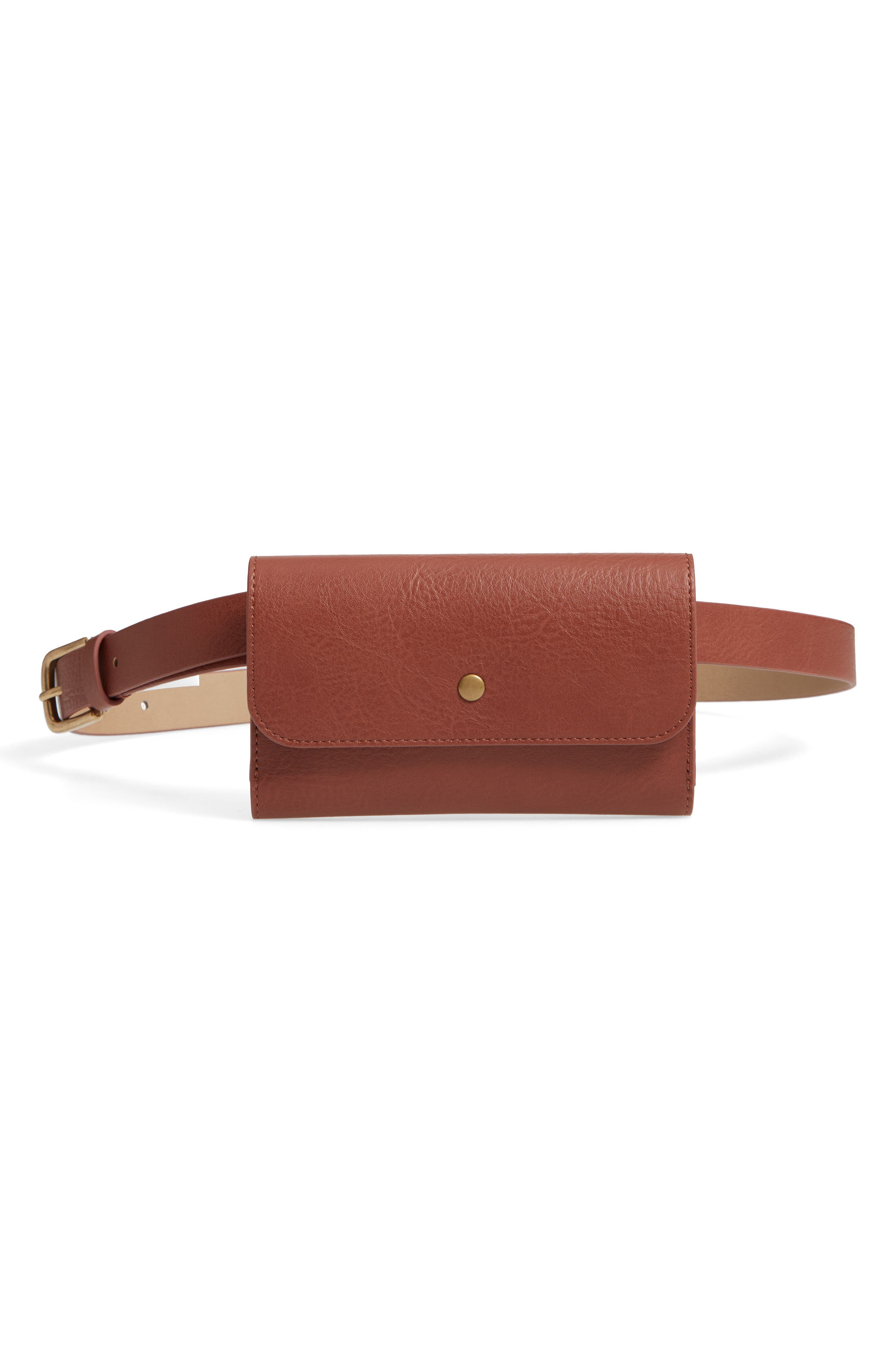 TREASURE & BOND Faux Leather Belt Bag, Main, color, COGNAC