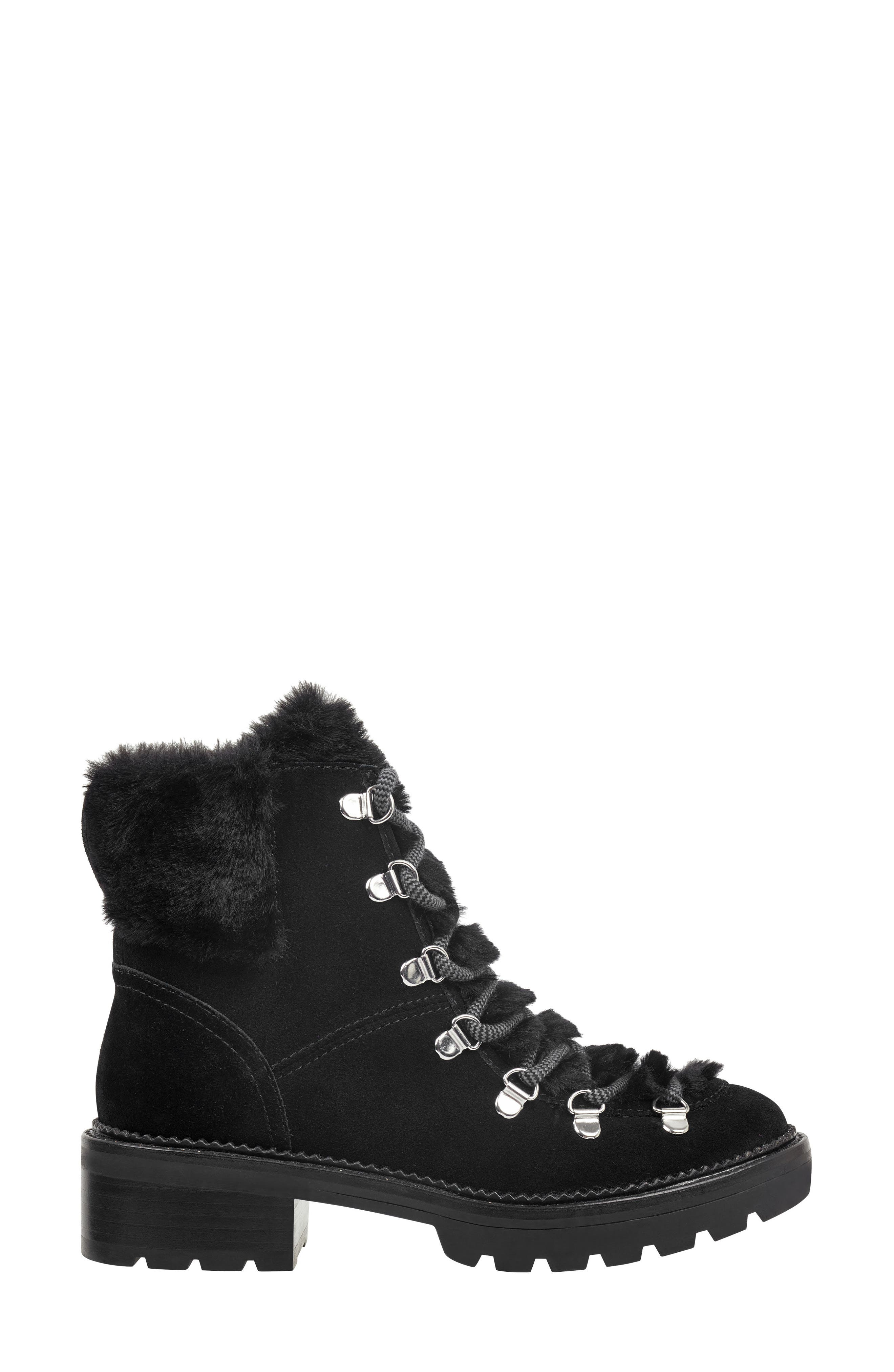 Capell Faux Shearling Cuff Lace-Up Boot,                             Alternate thumbnail 3, color,                             BLACK SUEDE