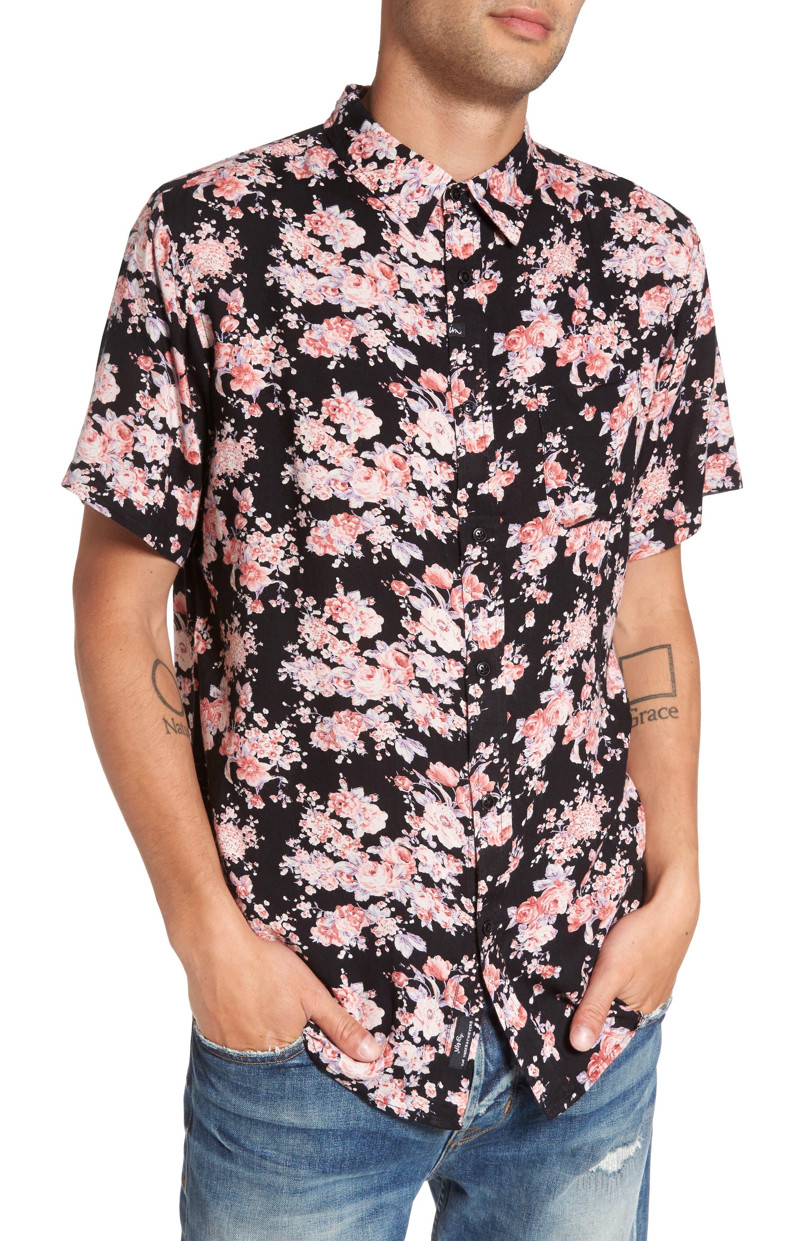 Flora Trim Fit Woven Shirt,                         Main,                         color, 001