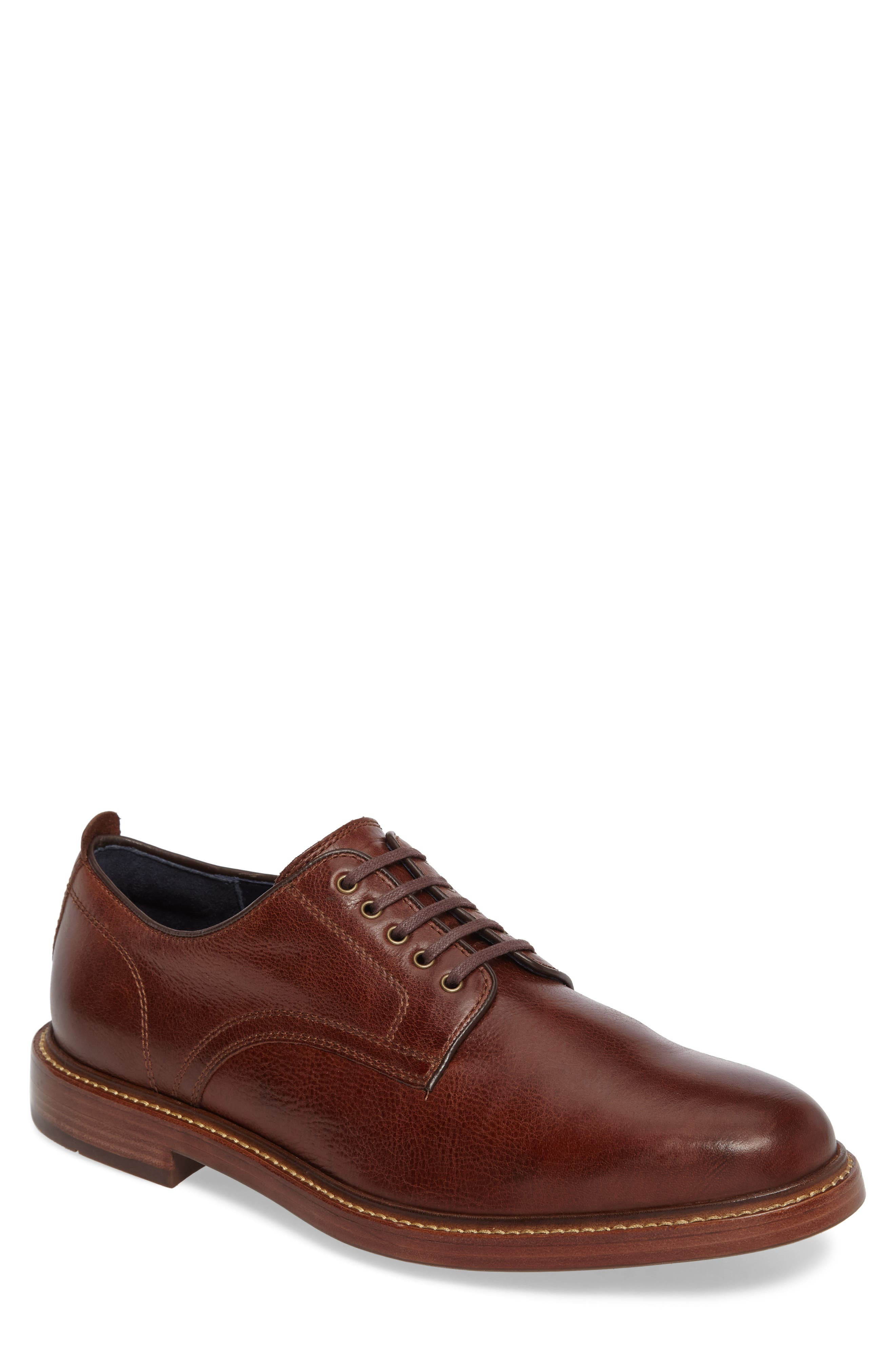 Tyler Grand Plain-Toe Derby,                         Main,                         color, WOODBURY LEATHER