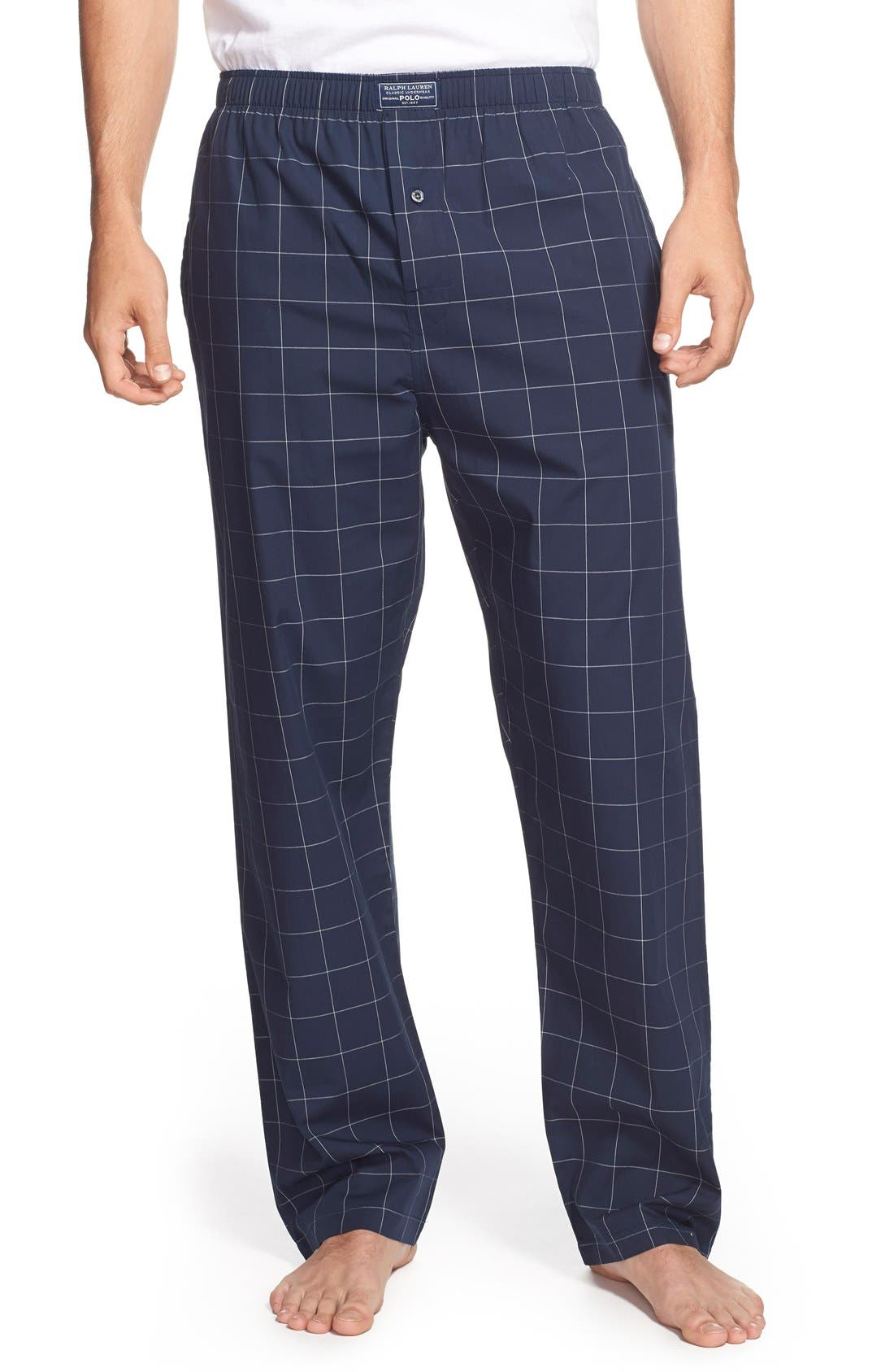 Cotton Pajama Pants,                         Main,                         color, CRUISE NAVY