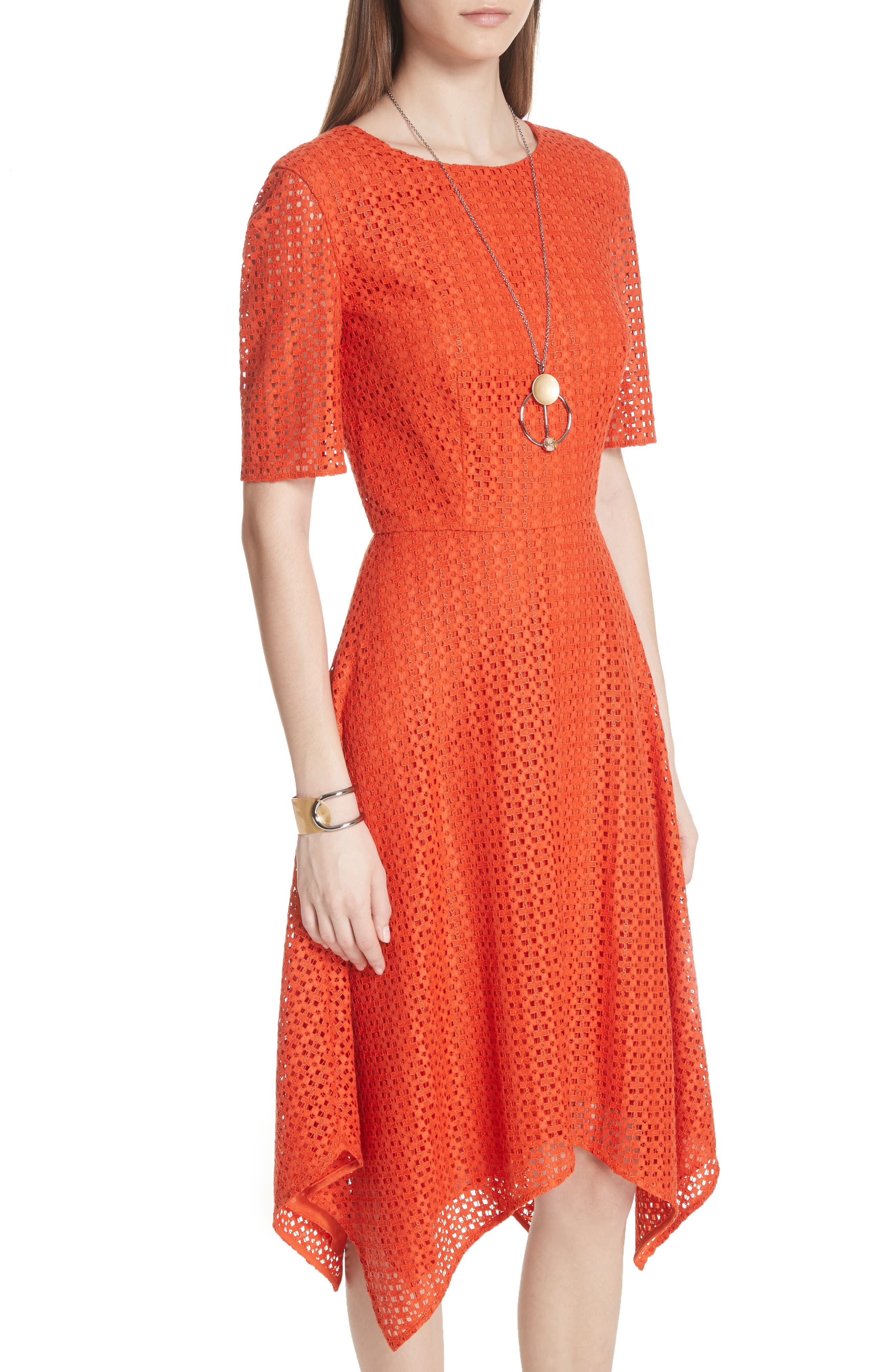 Geo Coated Lace Dress,                             Alternate thumbnail 4, color,                             SIENNA