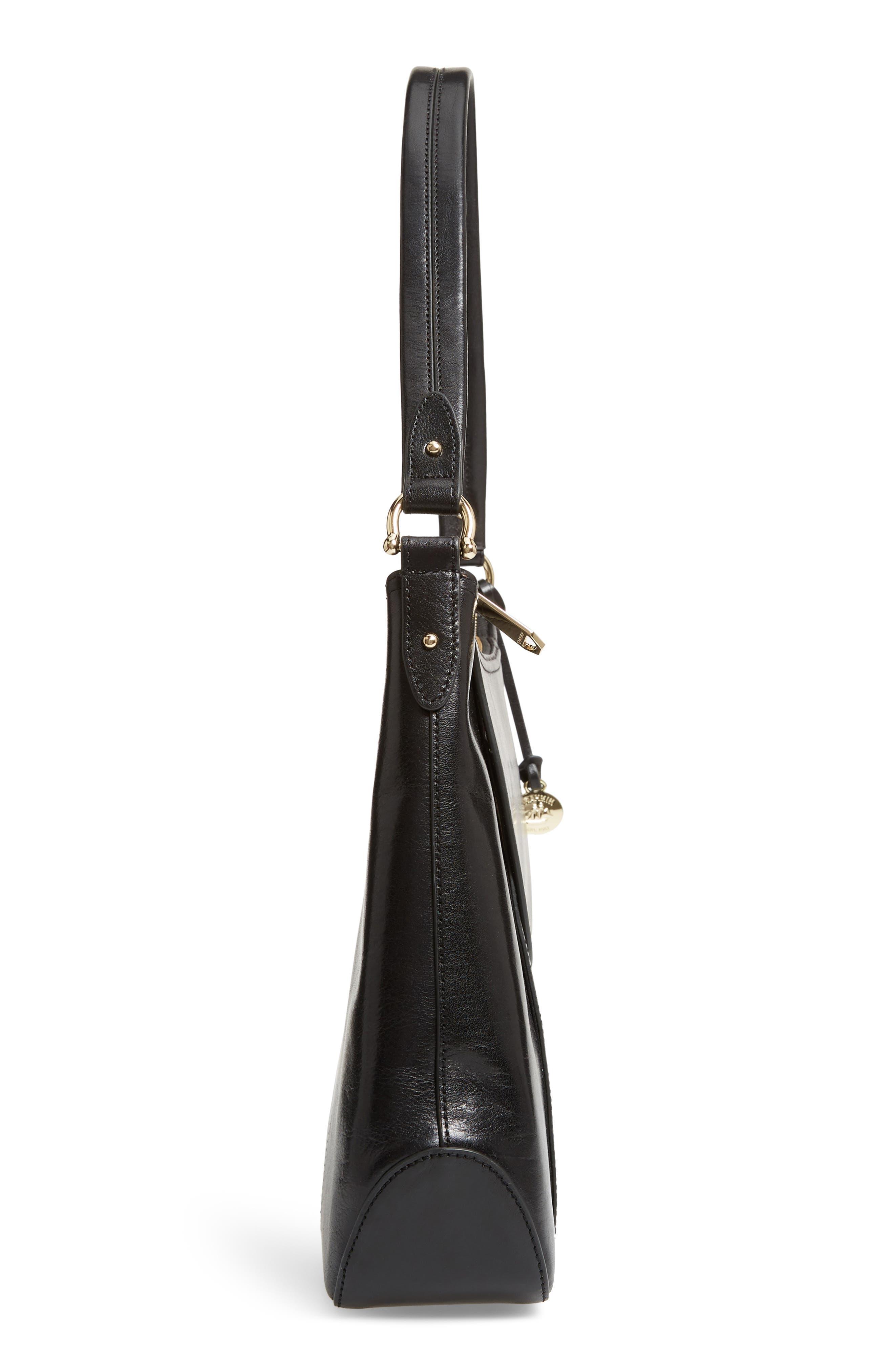 Weslynn Leather Shoulder Bag,                             Alternate thumbnail 5, color,                             BLACK