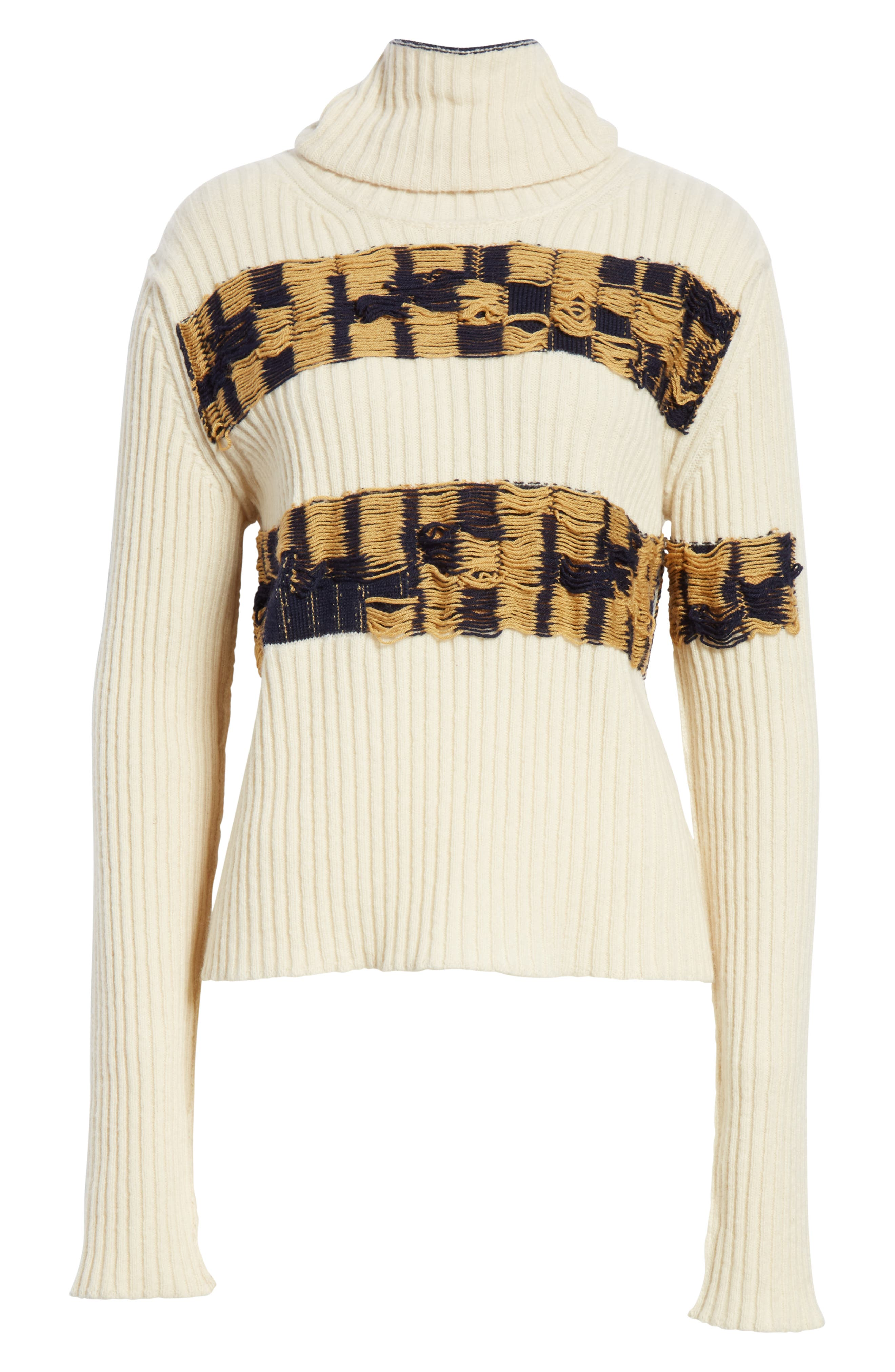Quilt Jacquard Stripe Sweater,                             Alternate thumbnail 7, color,                             ECRU HAY NAVY