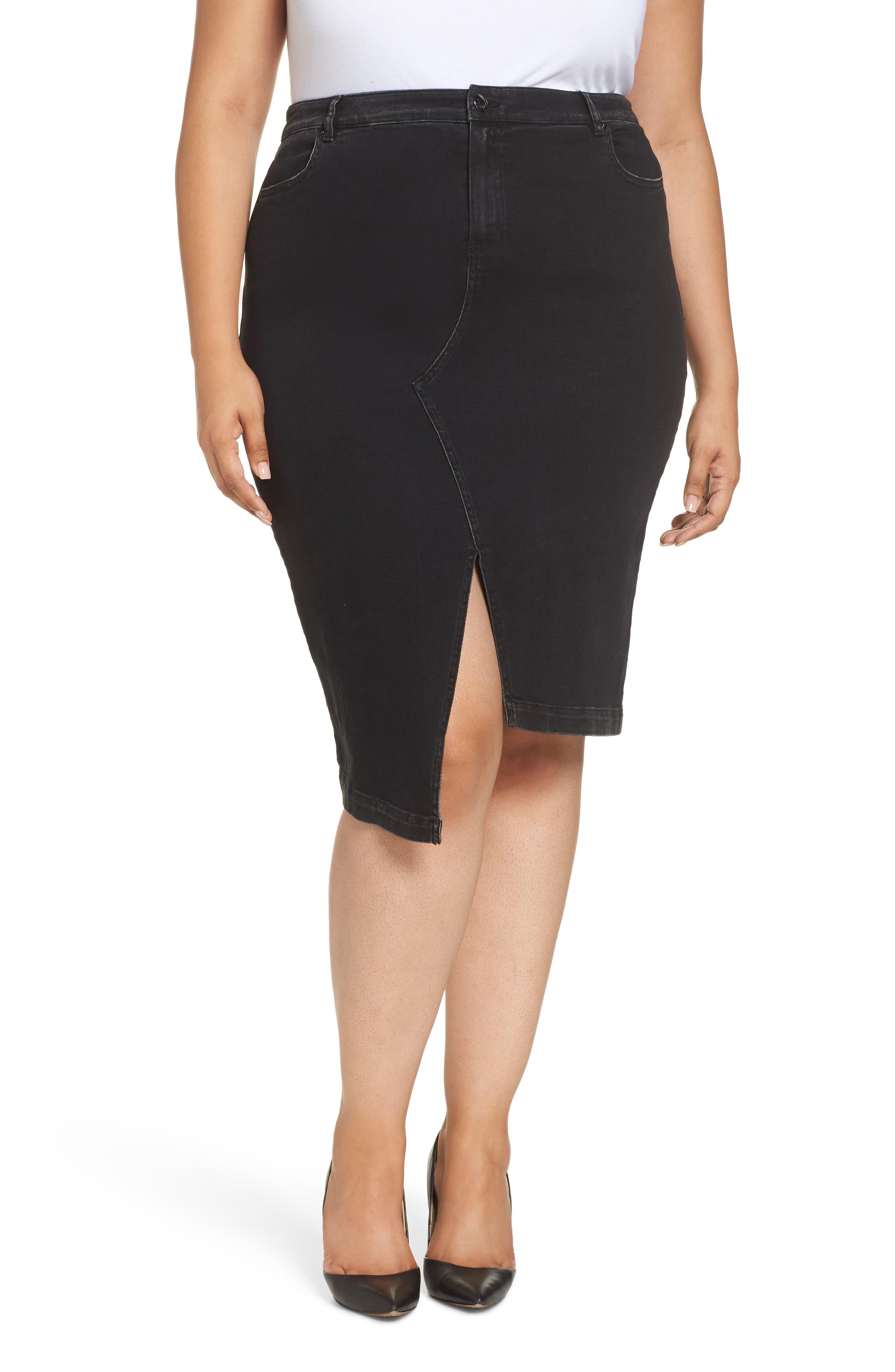 ASHLEY GRAHAM X MARINA RINALDI Canoa Asymmetrical Denim Skirt in Black 2