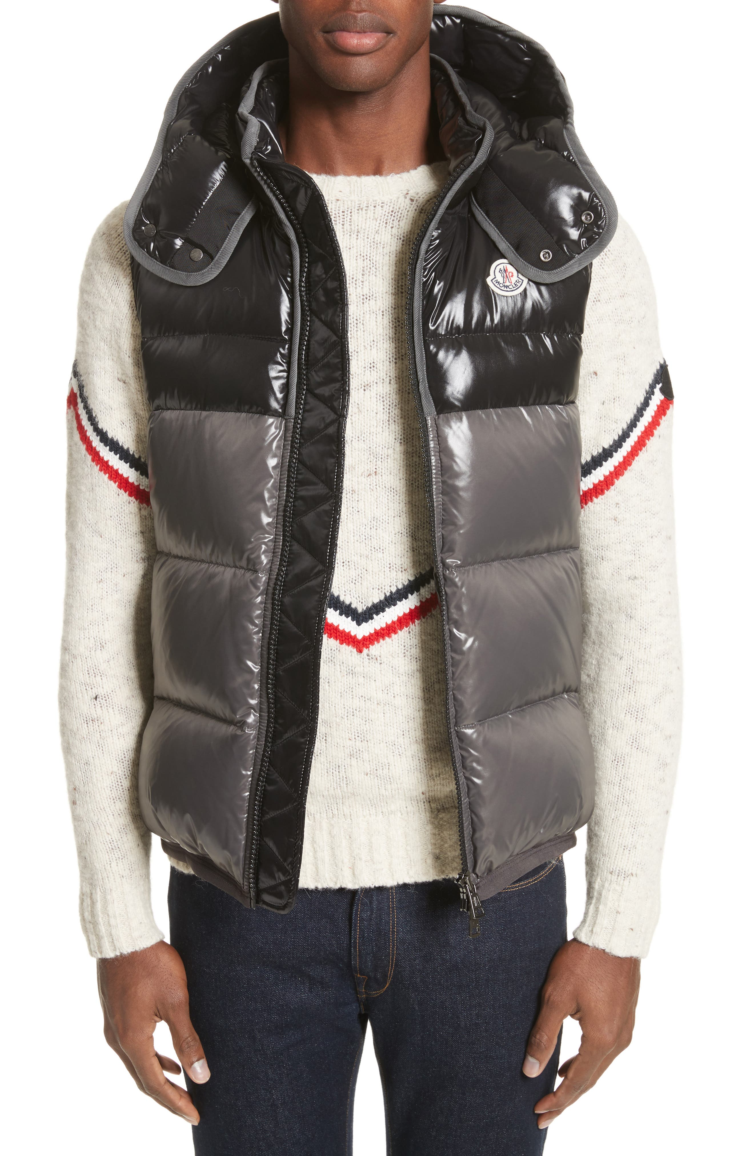 Balmat Quilted Down Vest with Detachable Hood,                         Main,                         color, 001