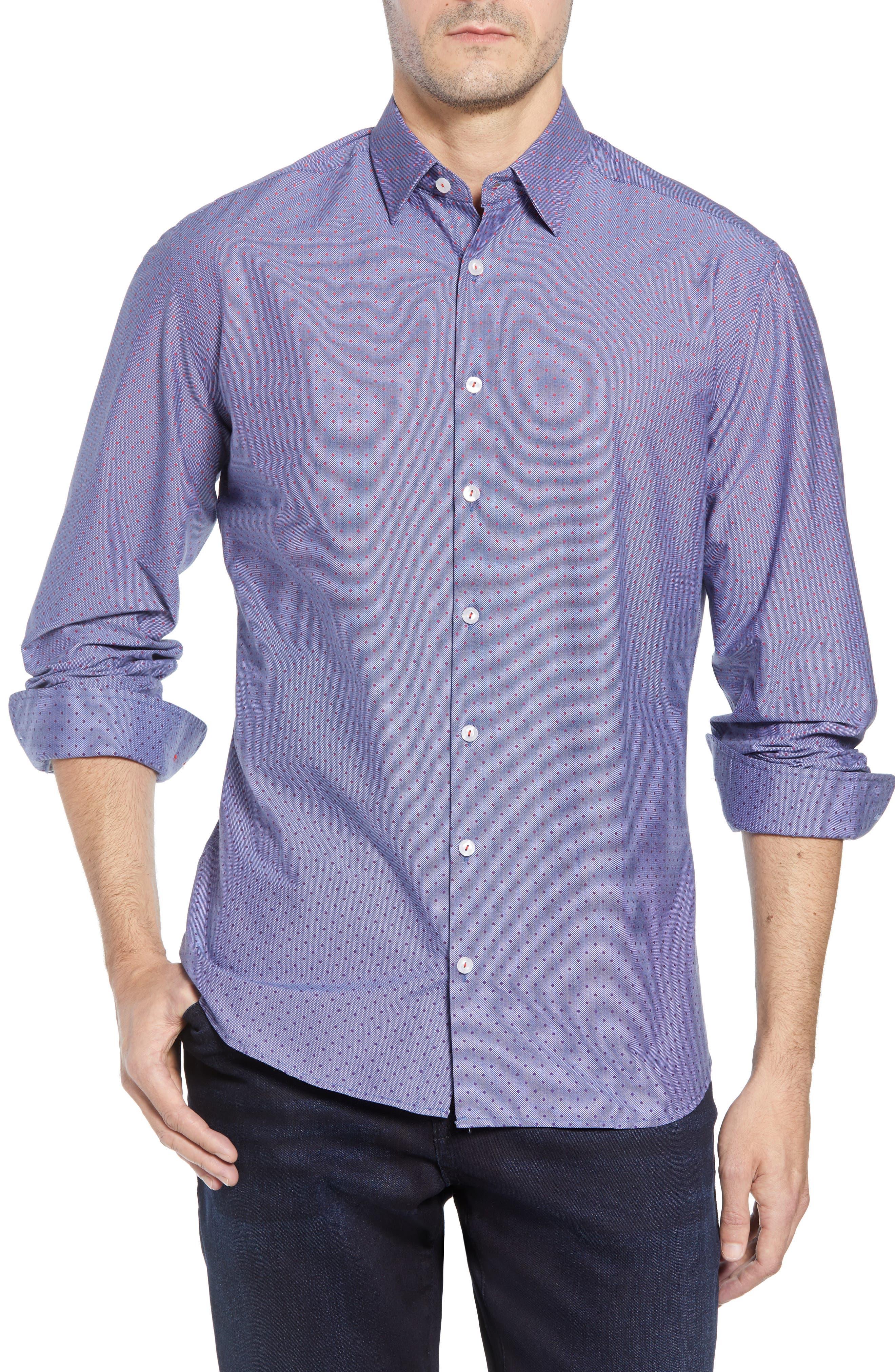 STONE ROSE Gradient Dot Regular Fit Sport Shirt, Main, color, 400