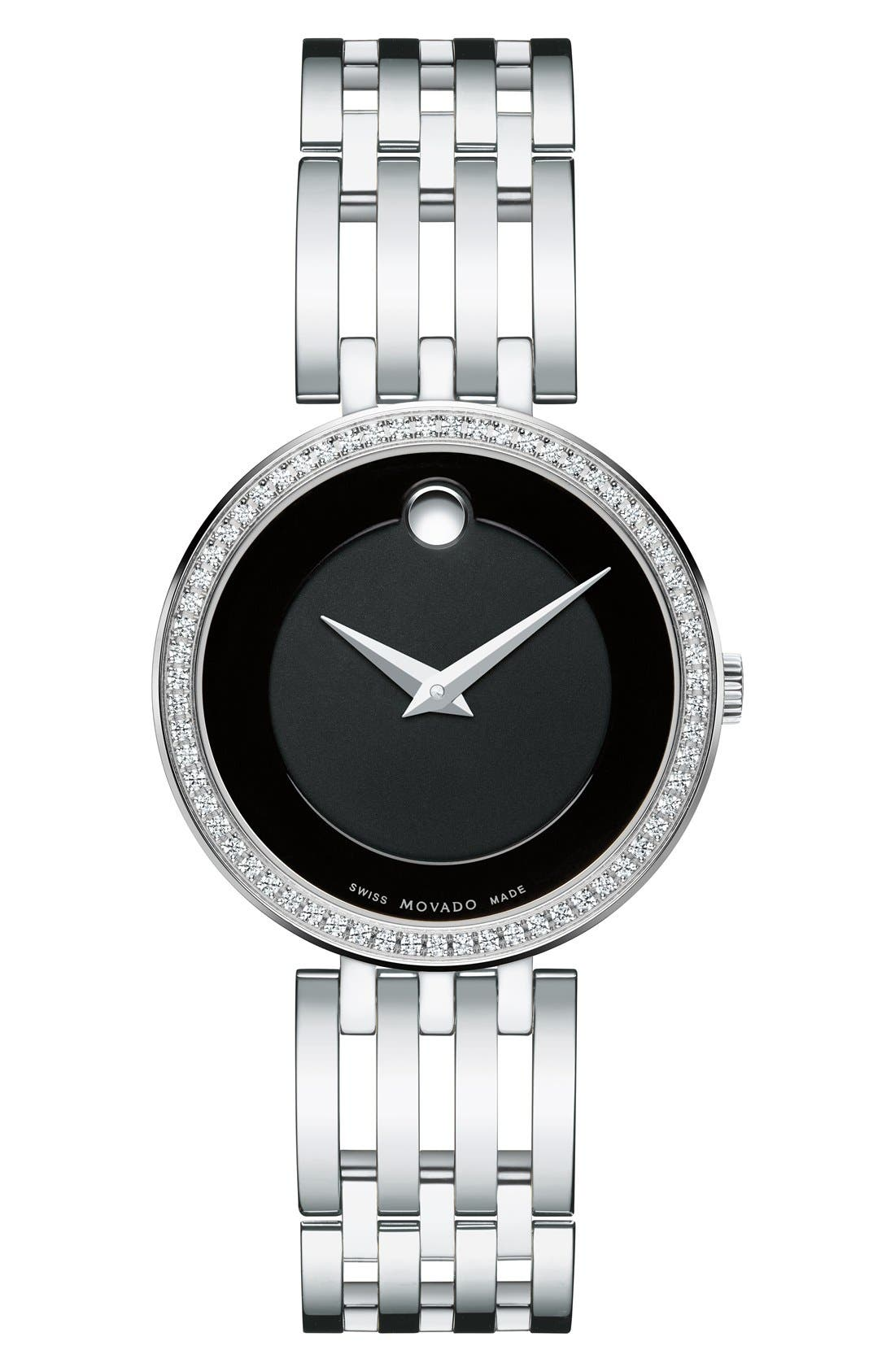 'Esperanza' Diamond Bezel Bracelet Watch, 28mm,                         Main,                         color, SILVER/ BLACK