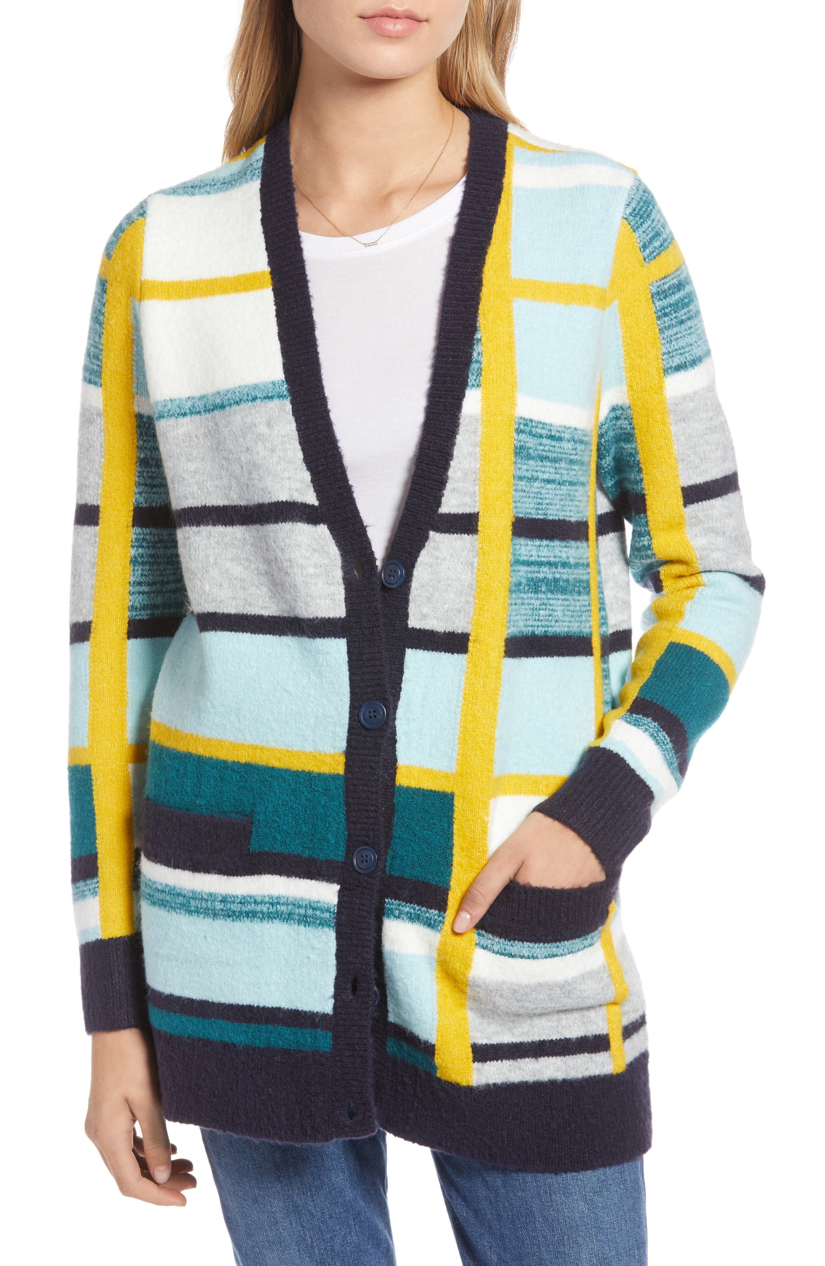 Abstract Plaid Button Front Cardigan Sweater,                             Alternate thumbnail 4, color,                             TEAL ABSTRACT PLAID