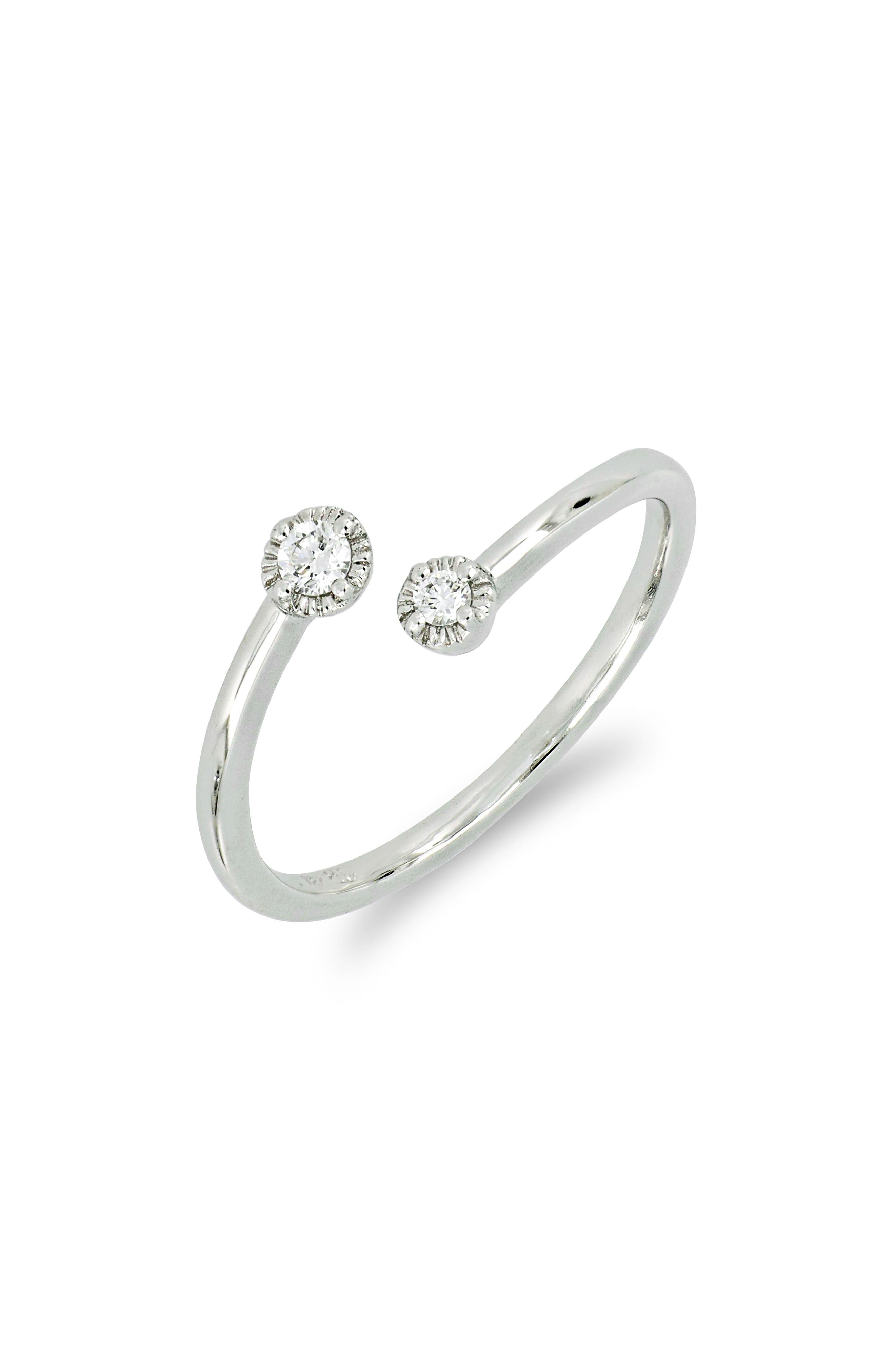 Open Stack Diamond Tipped Ring,                             Main thumbnail 1, color,                             WHITE GOLD